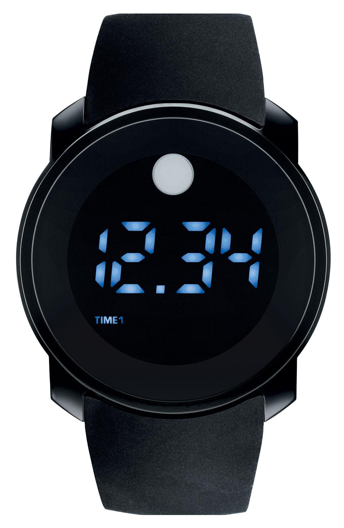 MOVADO Digital Rubber Strap Watch, Main, color, 001