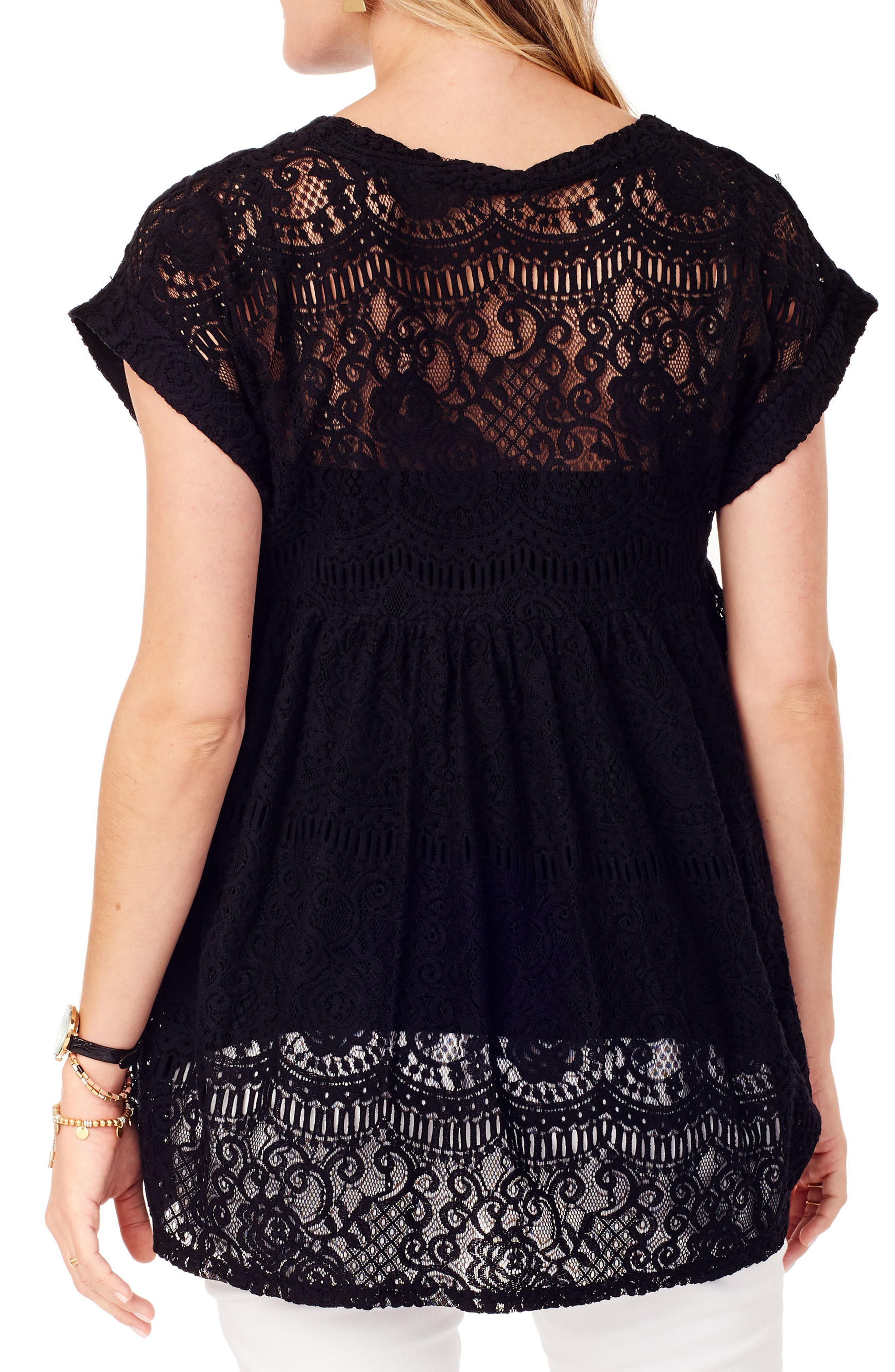 INGRID & ISABEL<SUP>®</SUP>, Lace Maternity Swing Top, Alternate thumbnail 2, color, JET BLACK