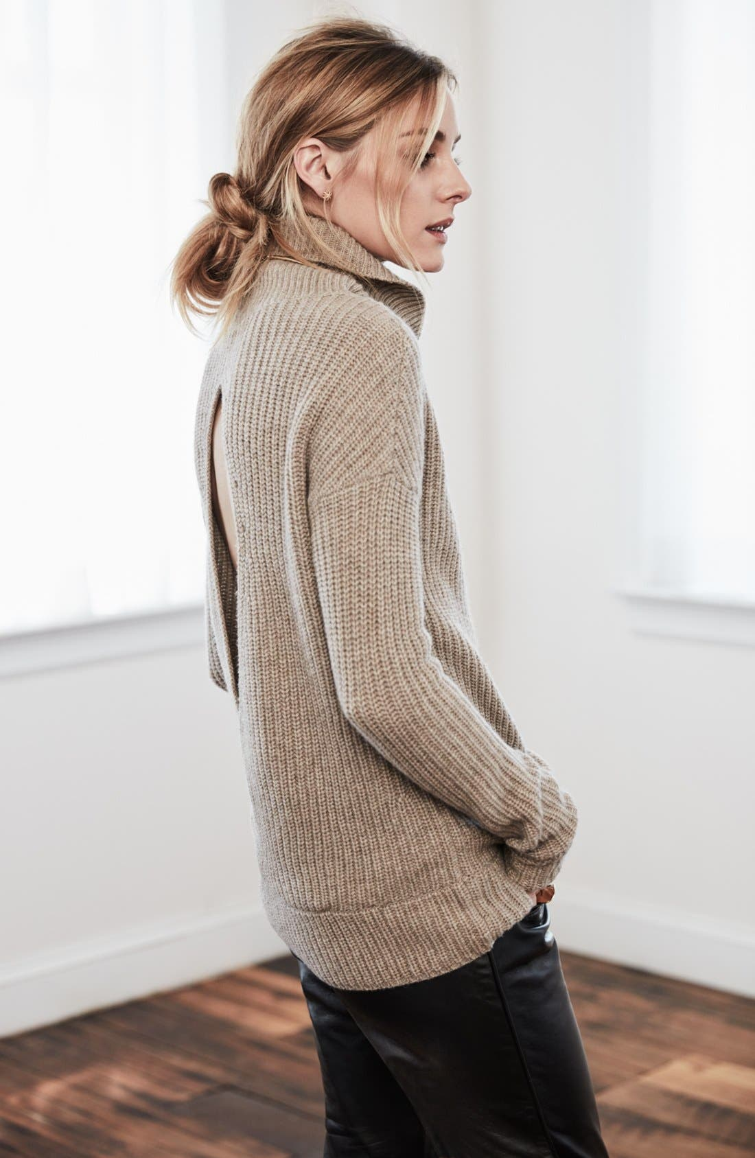OLIVIA PALERMO + CHELSEA28, Open Back Wool & Cashmere Turtleneck Sweater, Alternate thumbnail 3, color, 235