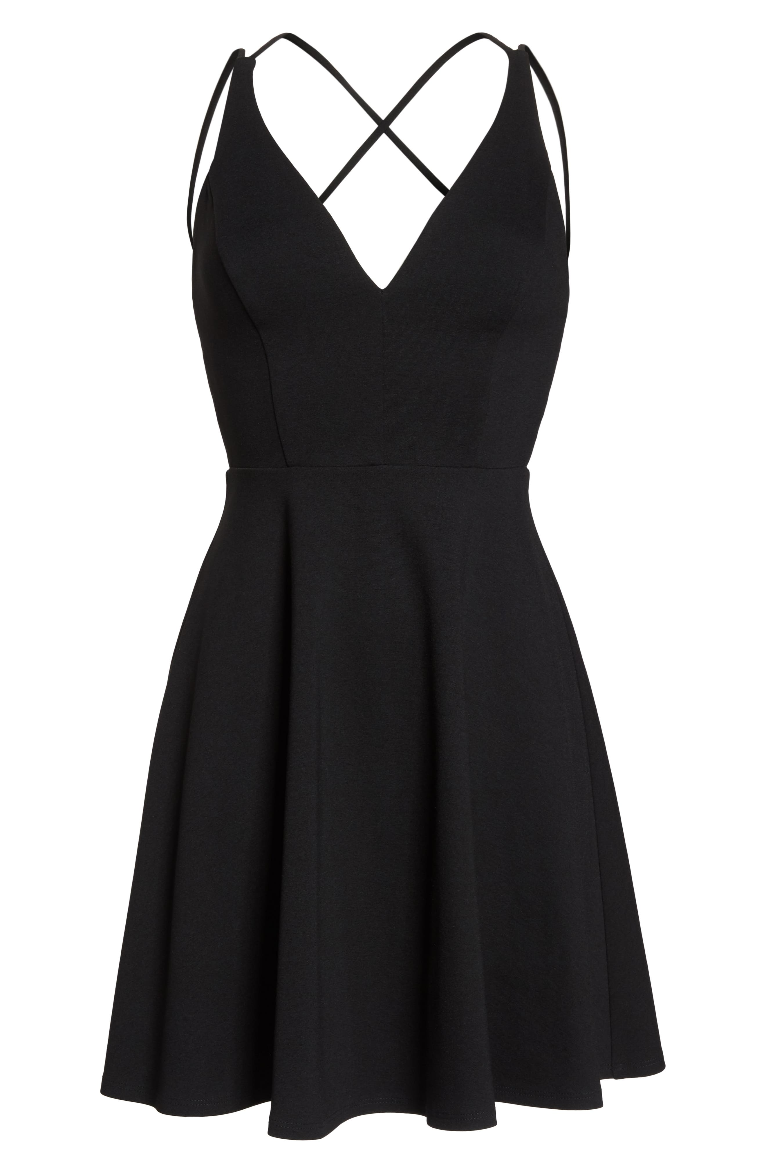 LULUS, Believe in Love Strappy Back Skater Dress, Alternate thumbnail 6, color, BLACK
