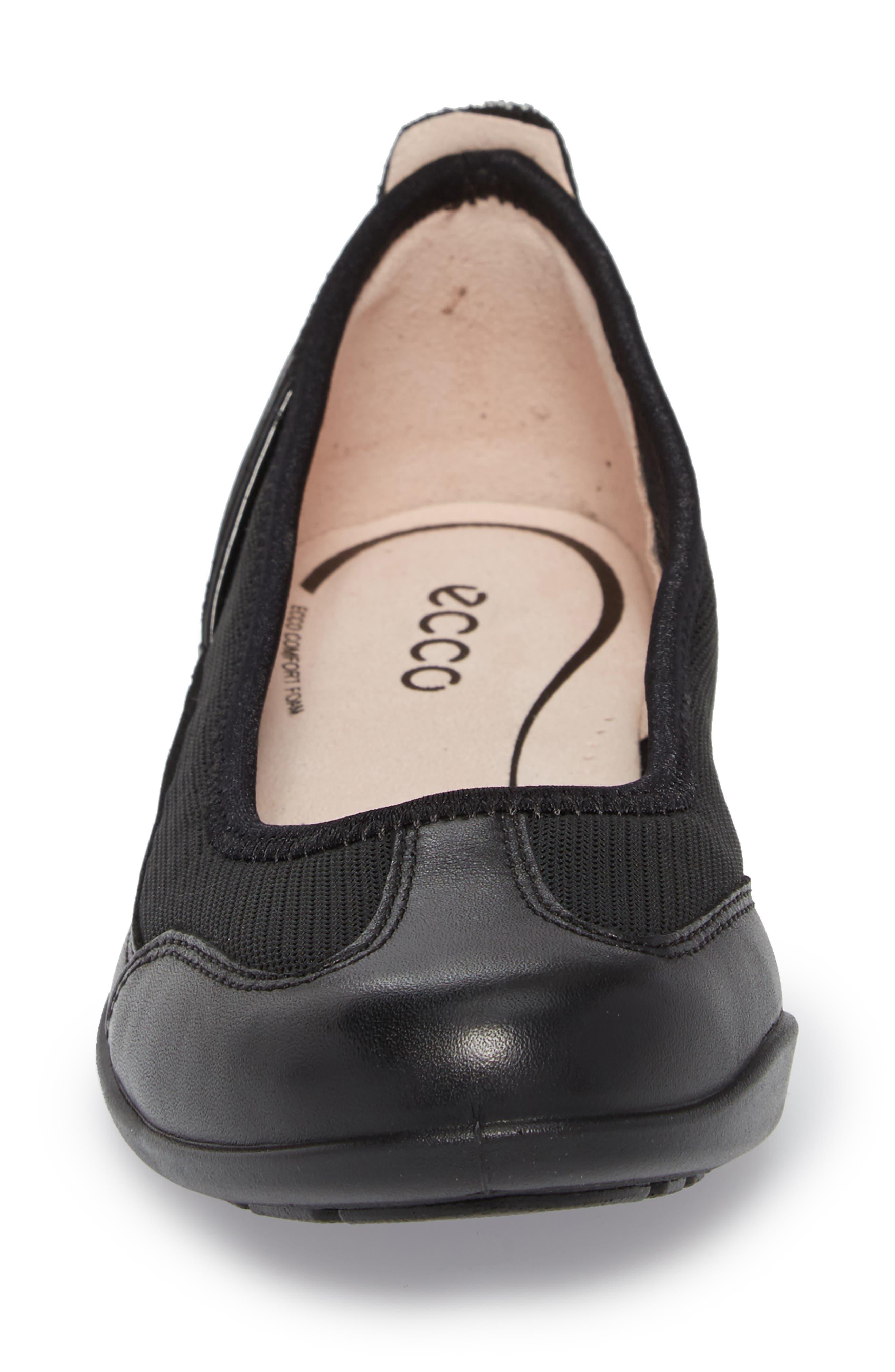 ECCO, 'Bluma' Ballet Sneaker, Alternate thumbnail 4, color, BLACK LEATHER