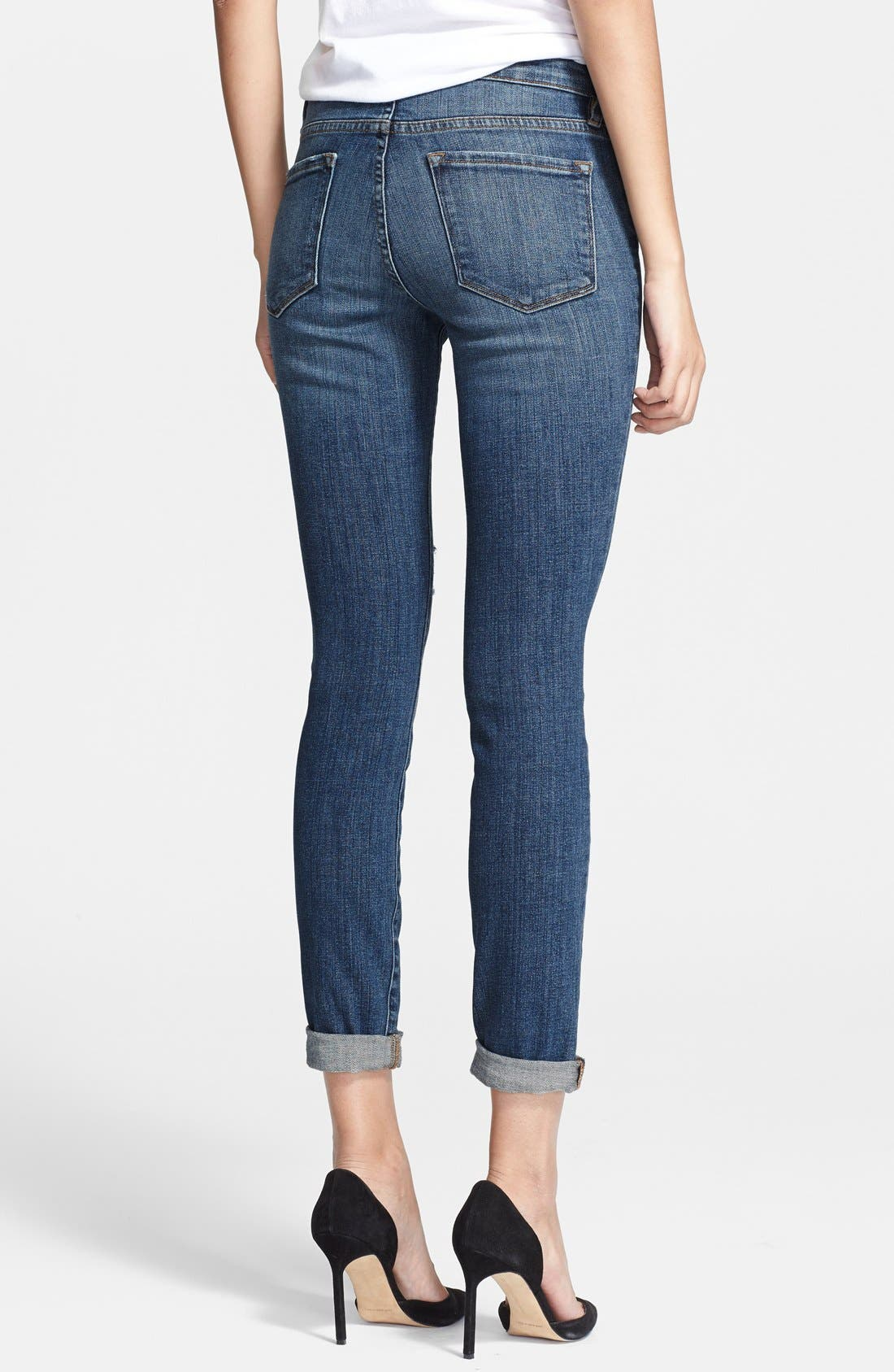 FRAME, Denim 'Le Skinny de Jeanne' Destroyed Jeans, Alternate thumbnail 3, color, 420