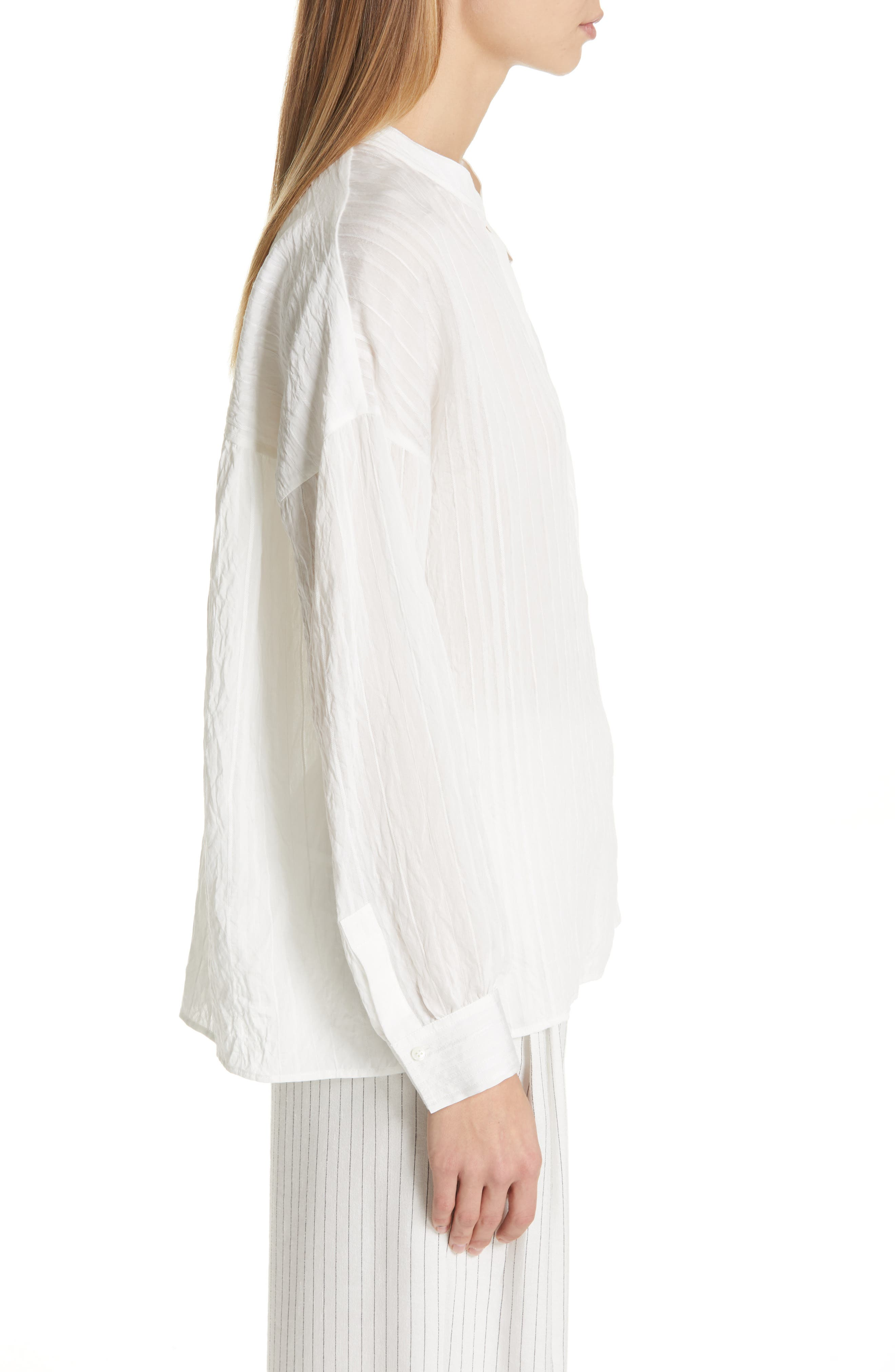 VINCE, Stripe Drop Sleeve Shirt, Alternate thumbnail 3, color, OPTIC WHITE