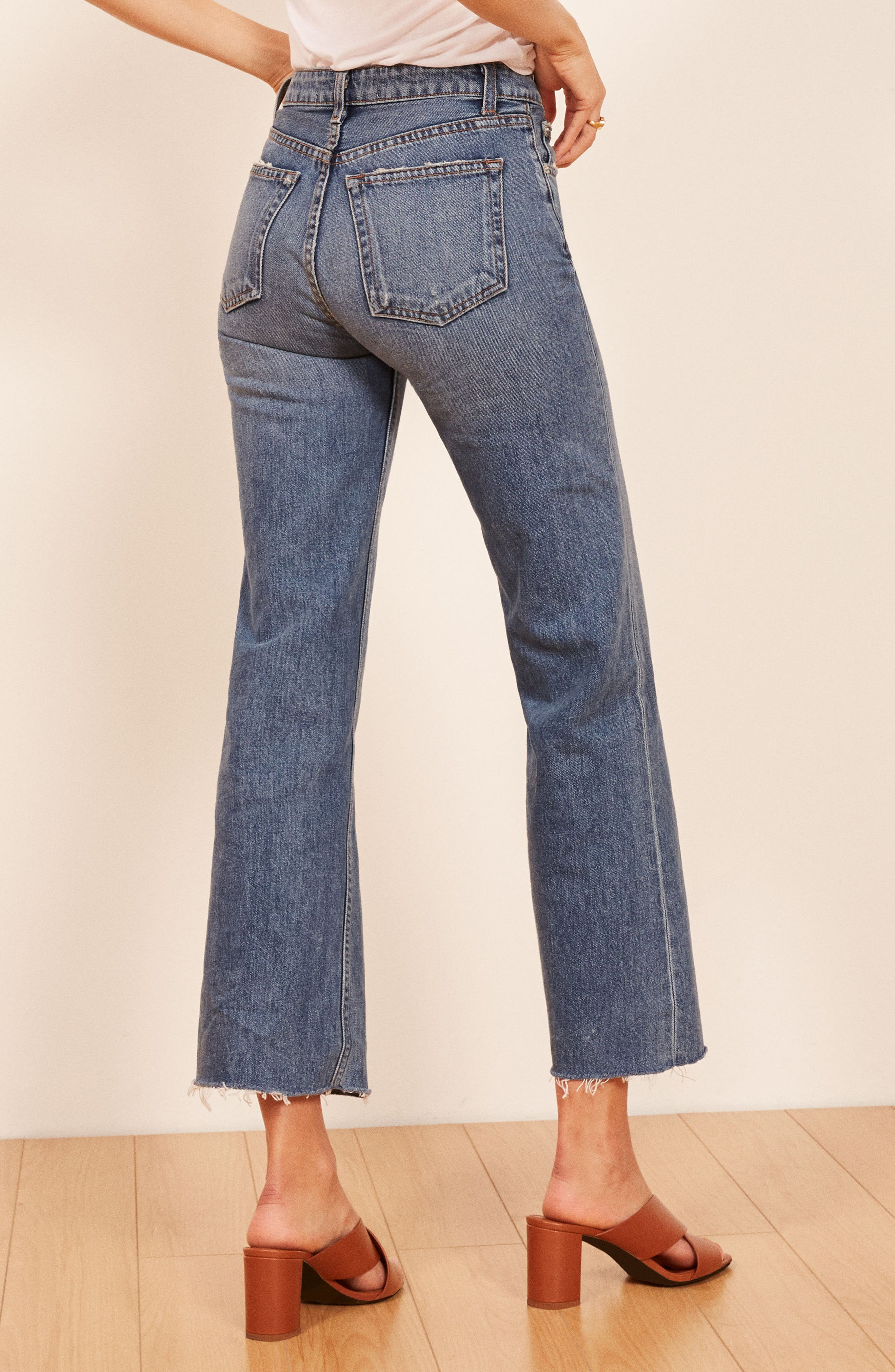 REFORMATION, Fawcett High Waist Crop Jeans, Alternate thumbnail 2, color, CELTIC