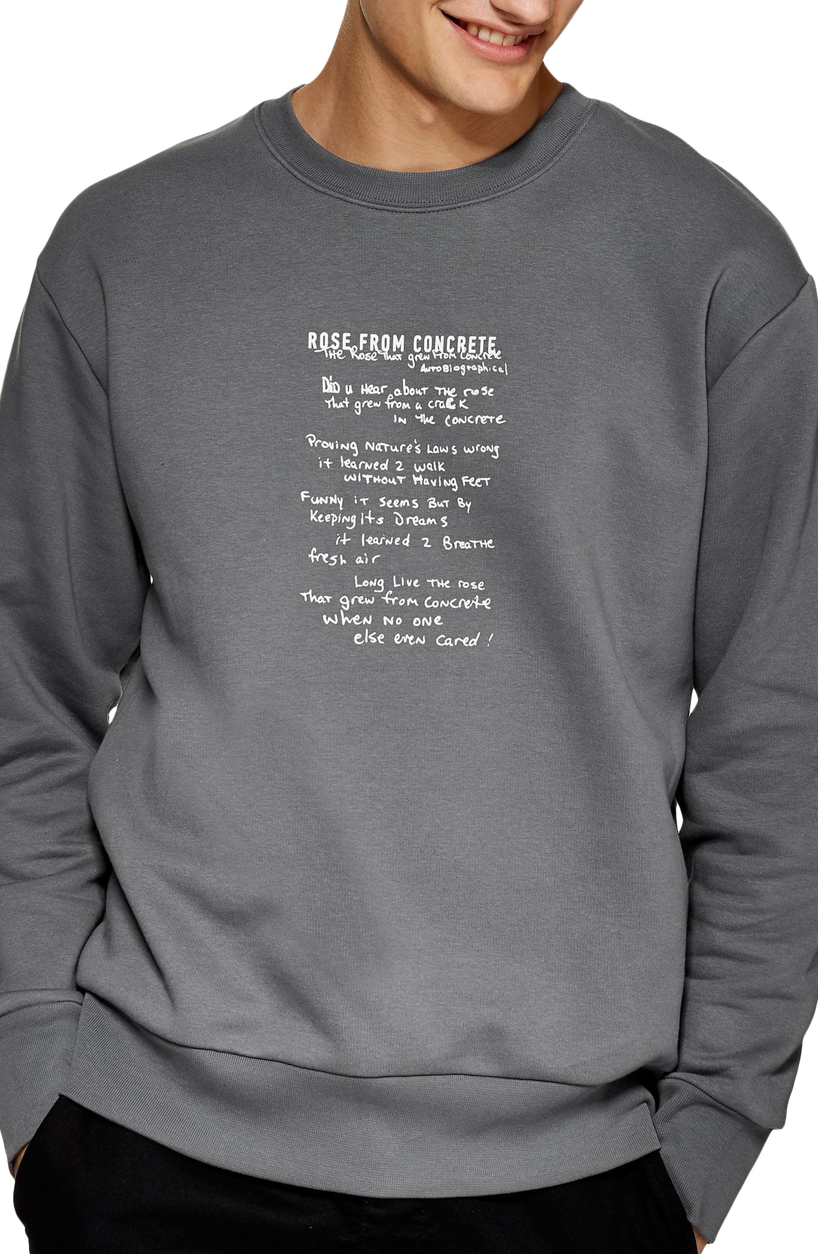 TOPMAN, 2Pac The Rose That Grew from Concrete Graphic Sweatshirt, Main thumbnail 1, color, GREY