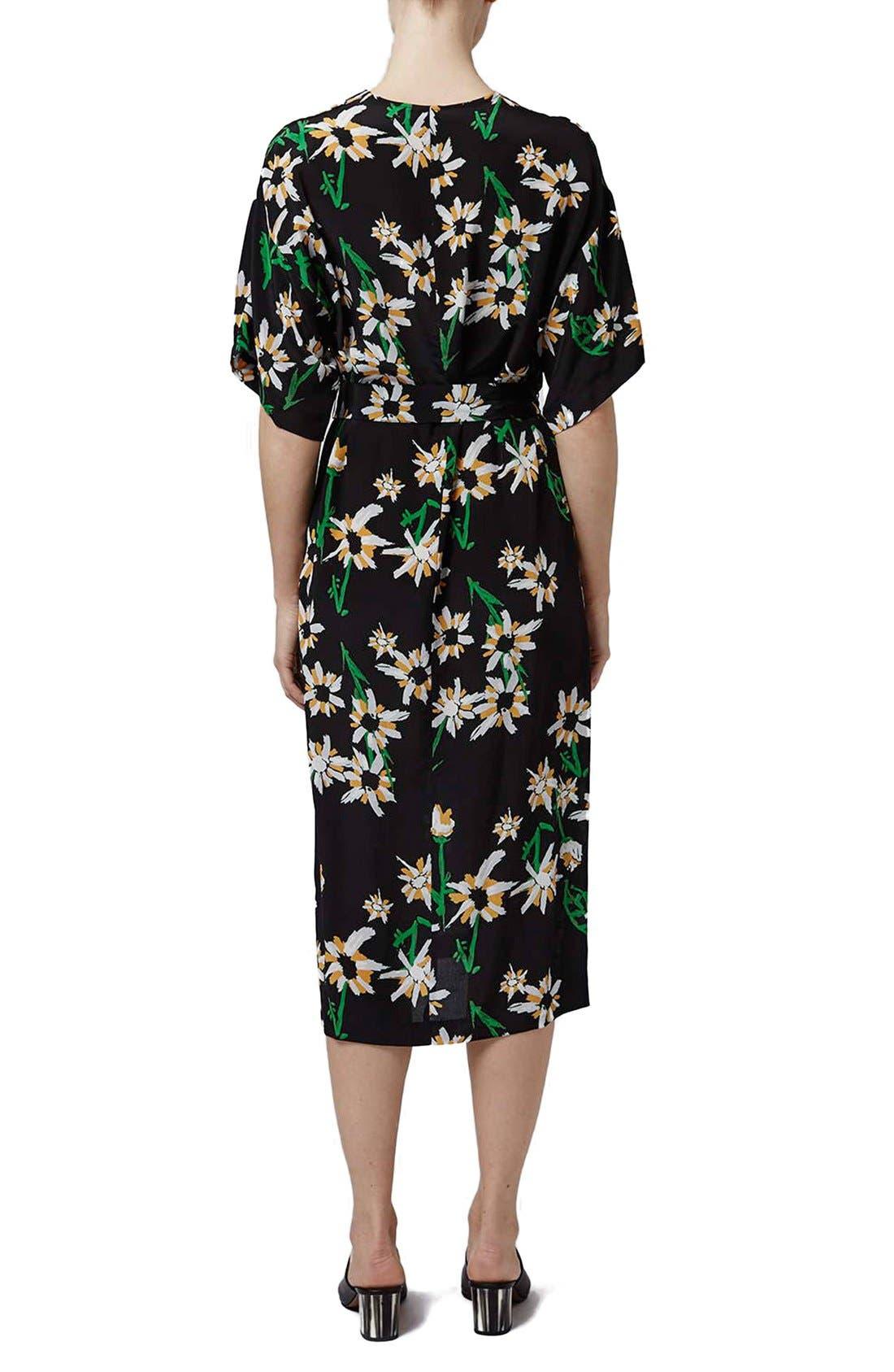 TOPSHOP BOUTIQUE, Daisy Print Silk Kimono Dress, Alternate thumbnail 3, color, 001