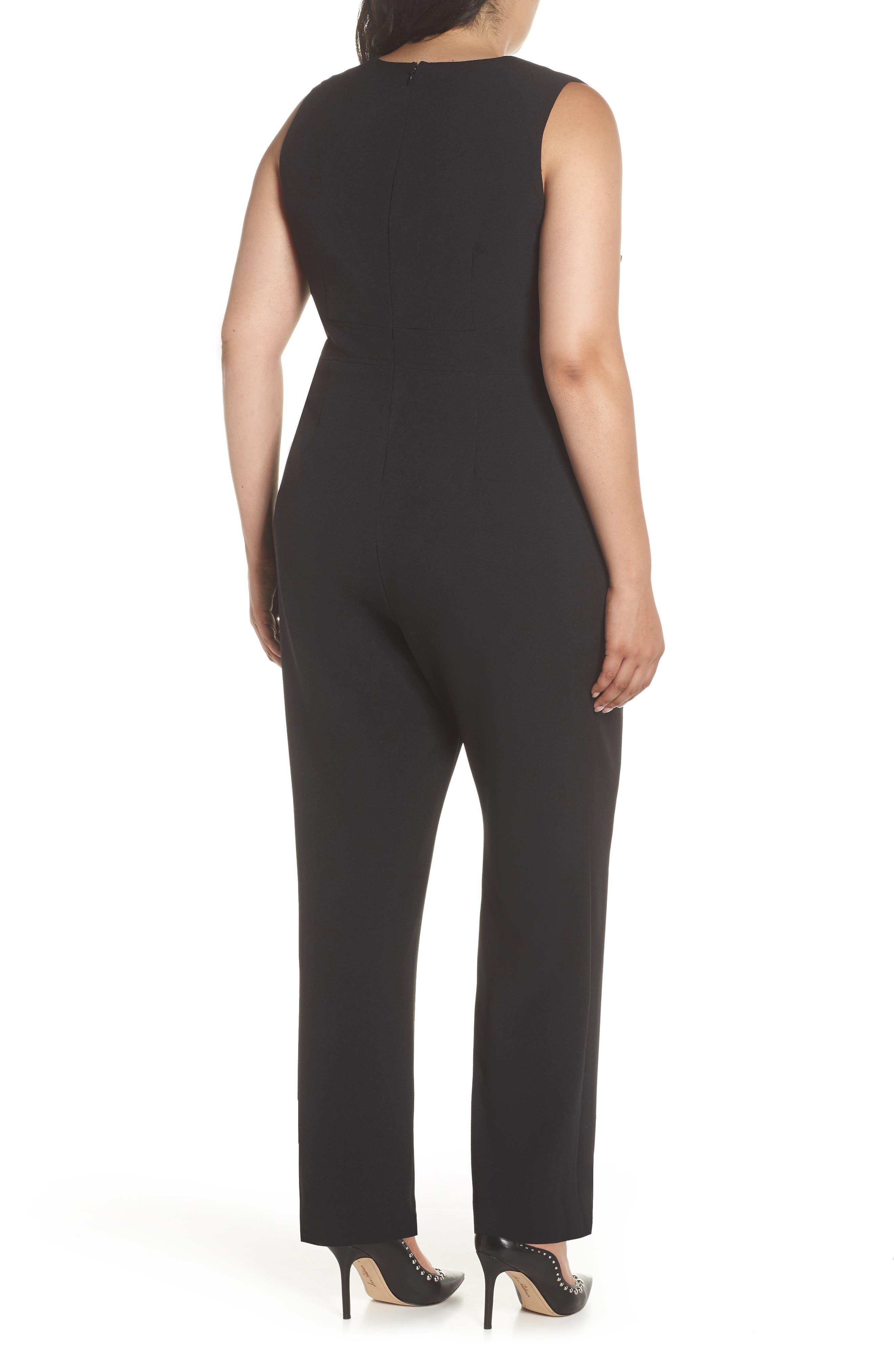 VINCE CAMUTO, Crepe Tie Front Wide Leg Jumpsuit, Alternate thumbnail 2, color, BLACK