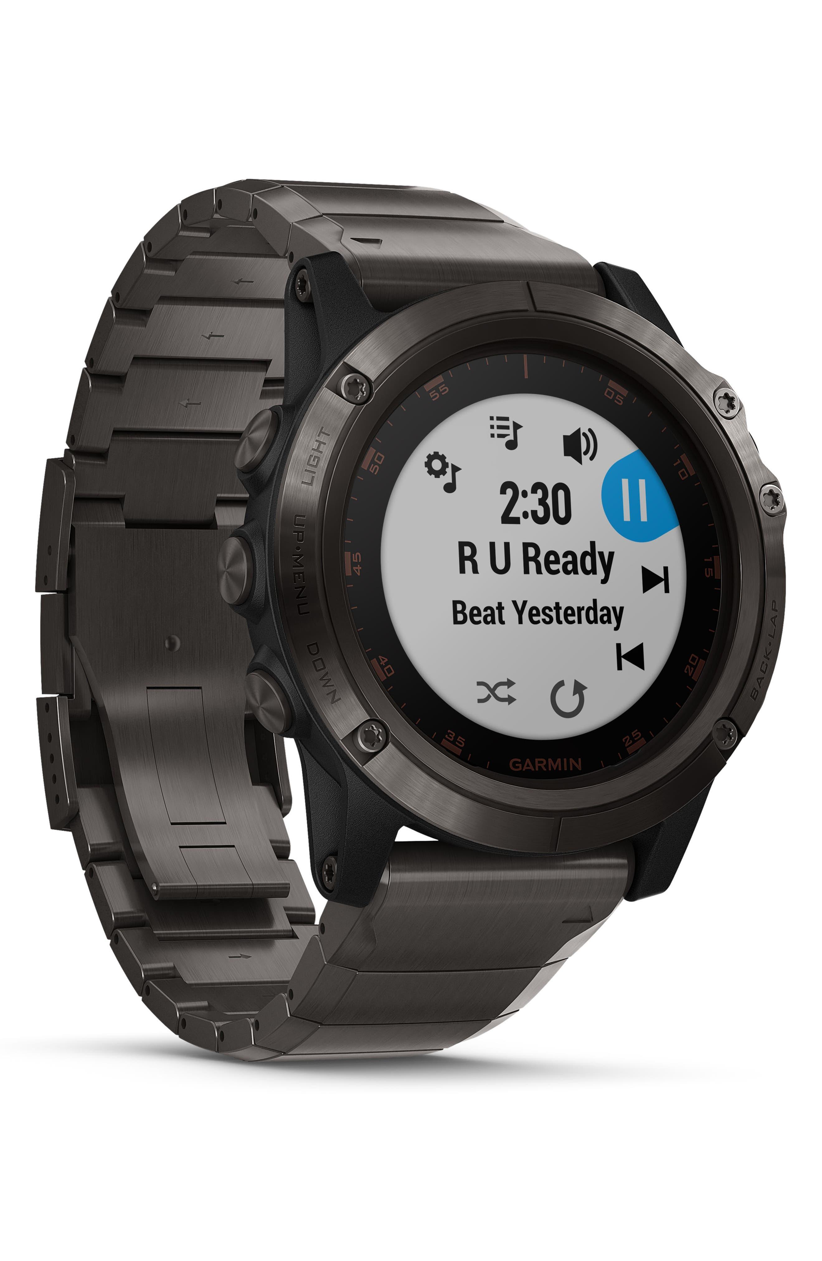 GARMIN, fenix<sup>®</sup> 5X Plus Sapphire Premium Multisport GPS Watch, 51mm, Alternate thumbnail 8, color, CARBON GRAY