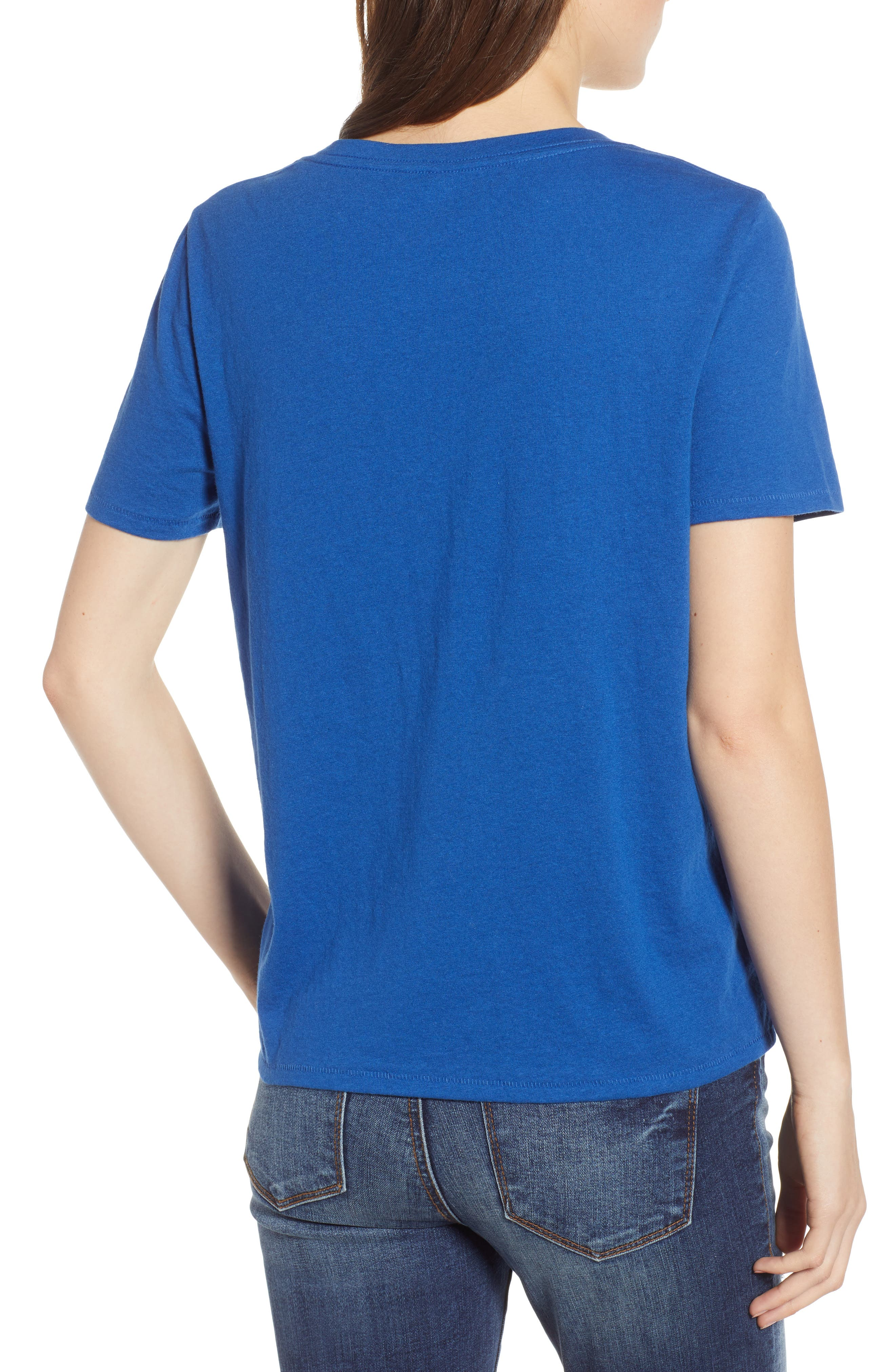 BP., V-Neck Tee, Alternate thumbnail 2, color, BLUE MONACO