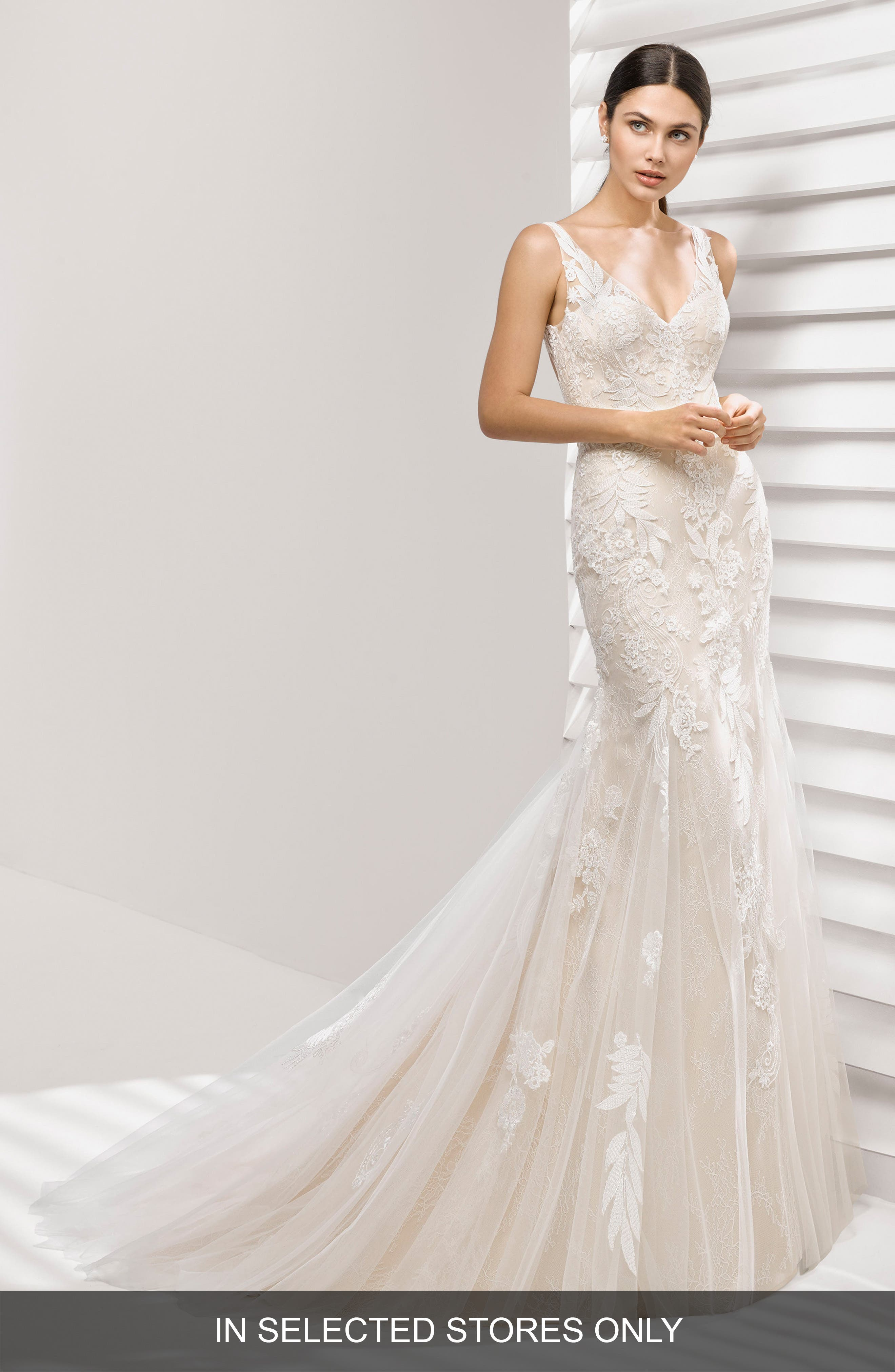 ROSA CLARÁ Aurelia Lace Mermaid Gown, Main, color, NUDE