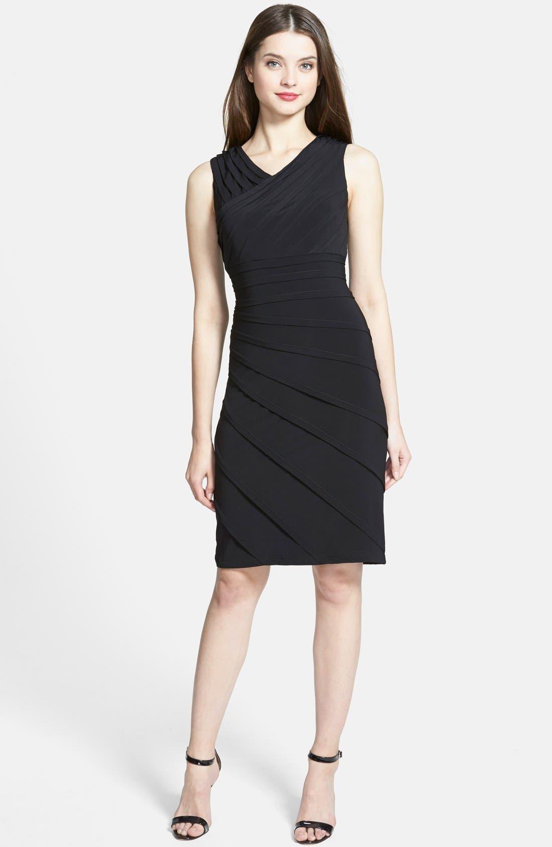 ADRIANNA PAPELL, V-Neck Shutter Pleat Sheath Dress, Alternate thumbnail 2, color, 001