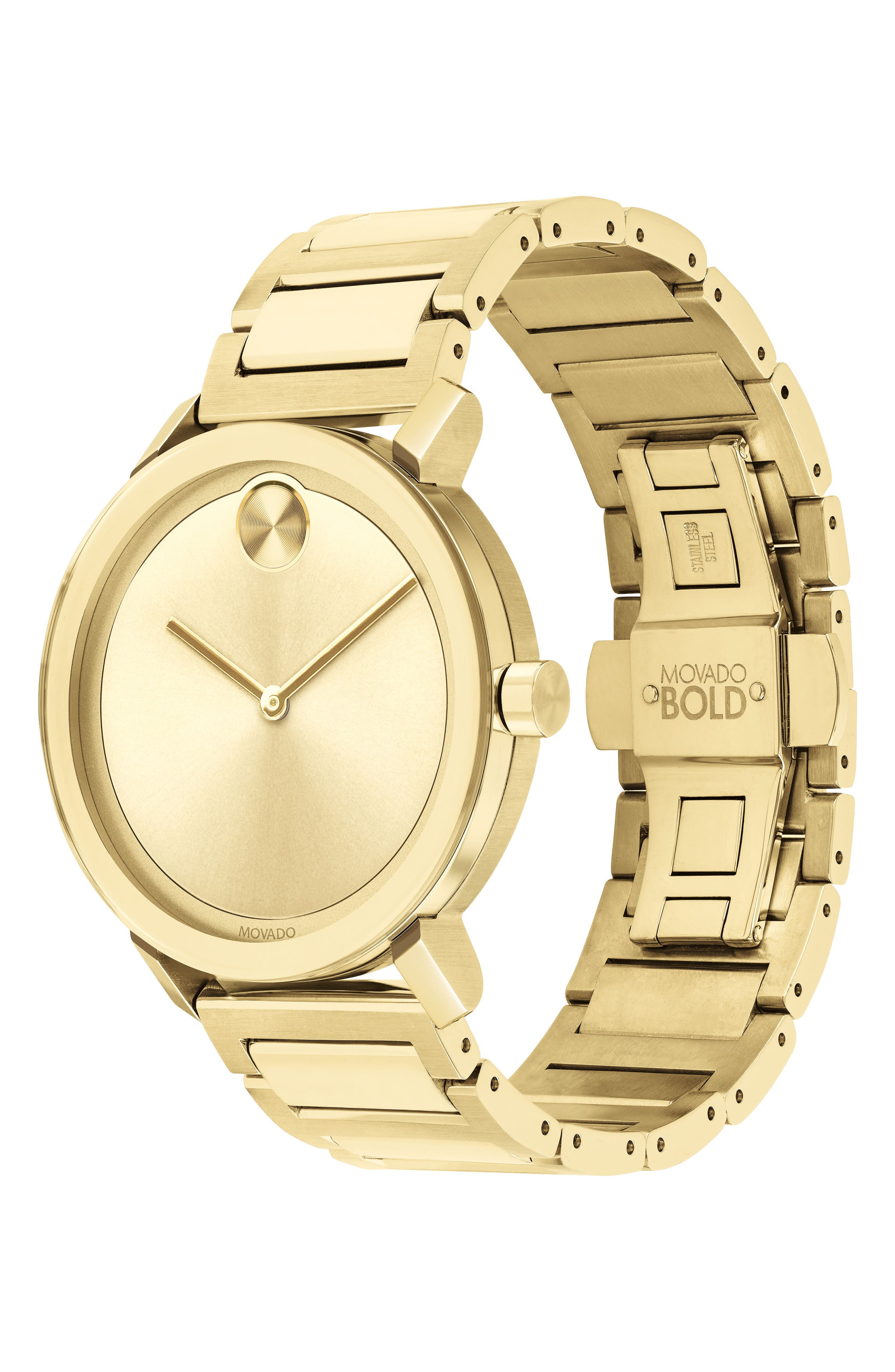MOVADO, Bold Bracelet Watch, 40mm, Alternate thumbnail 3, color, GOLD