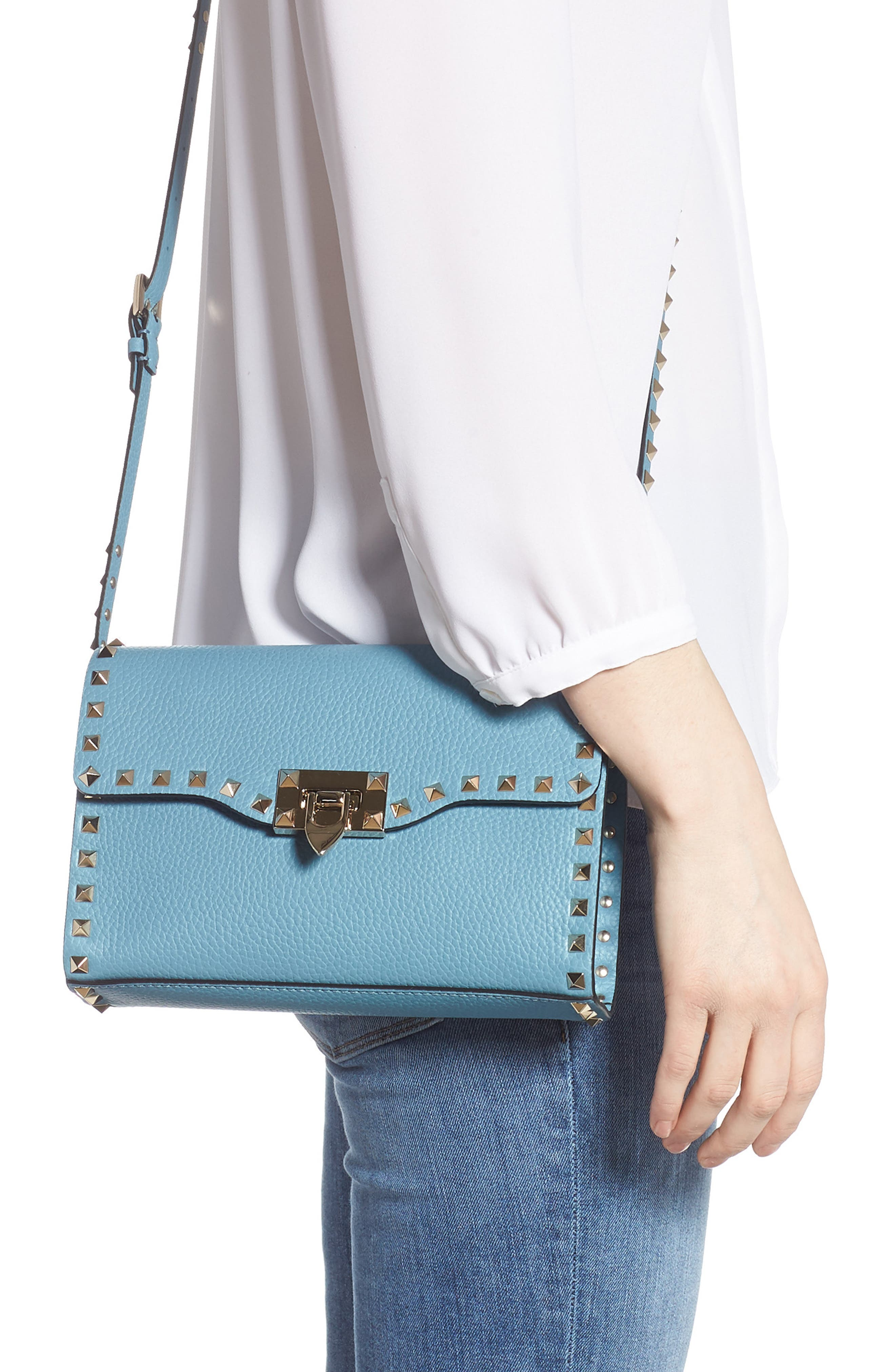 VALENTINO GARAVANI, Medium Rockstud Leather Crossbody Bag, Alternate thumbnail 2, color, 485