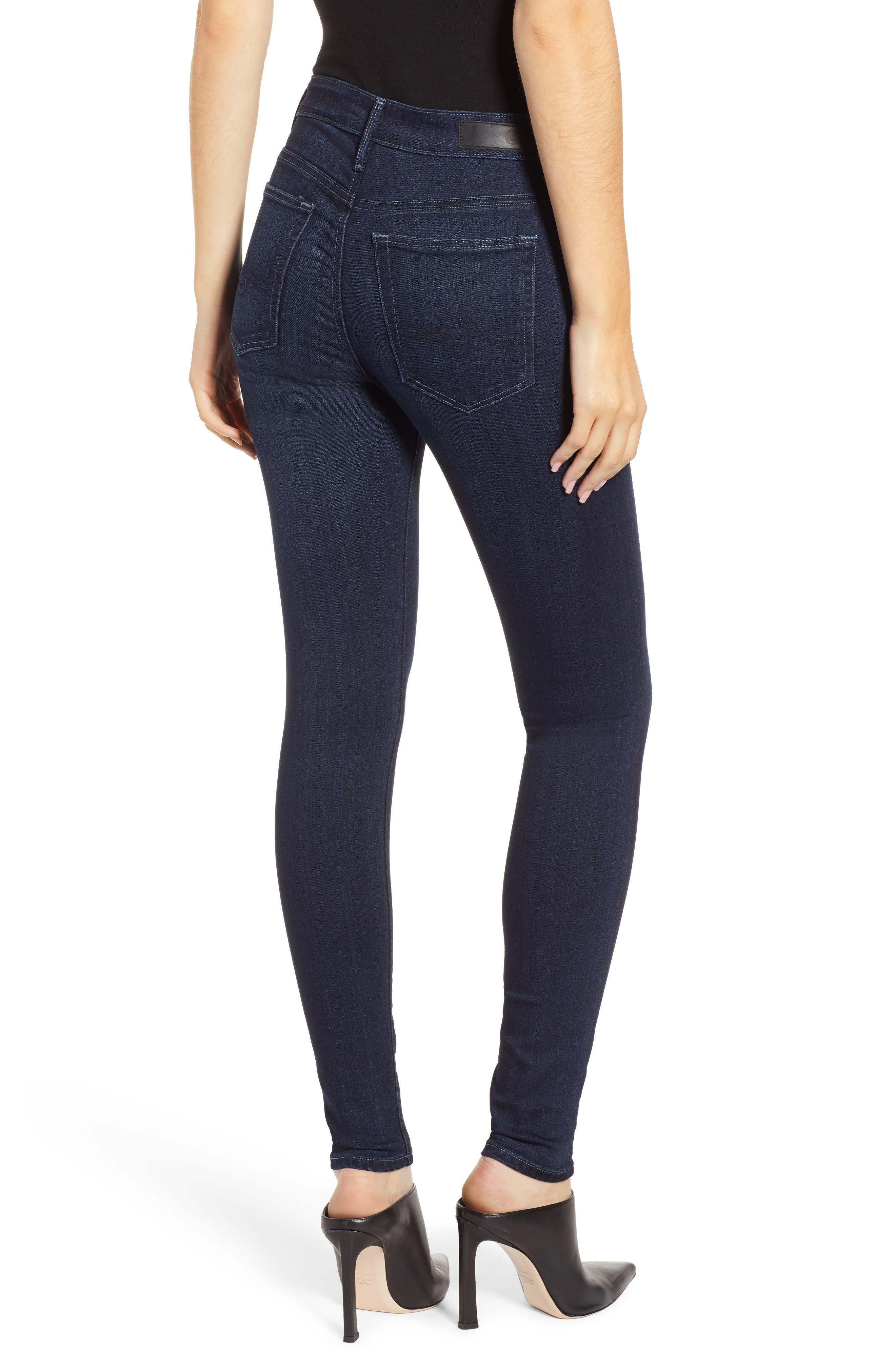 AG, Farrah High Waist Skinny Jeans, Alternate thumbnail 2, color, BLUE BASIN