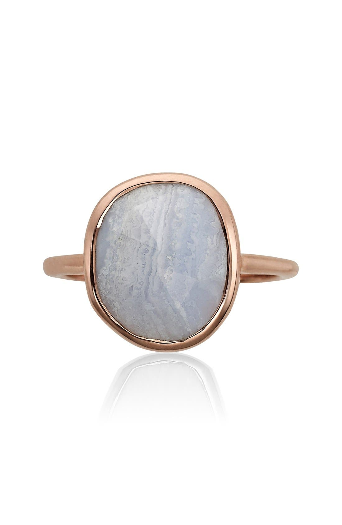 MONICA VINADER, Siren Medium Semiprecious Stone Stacking Ring, Alternate thumbnail 6, color, ROSE GOLD/ BLUE LACE AGATE