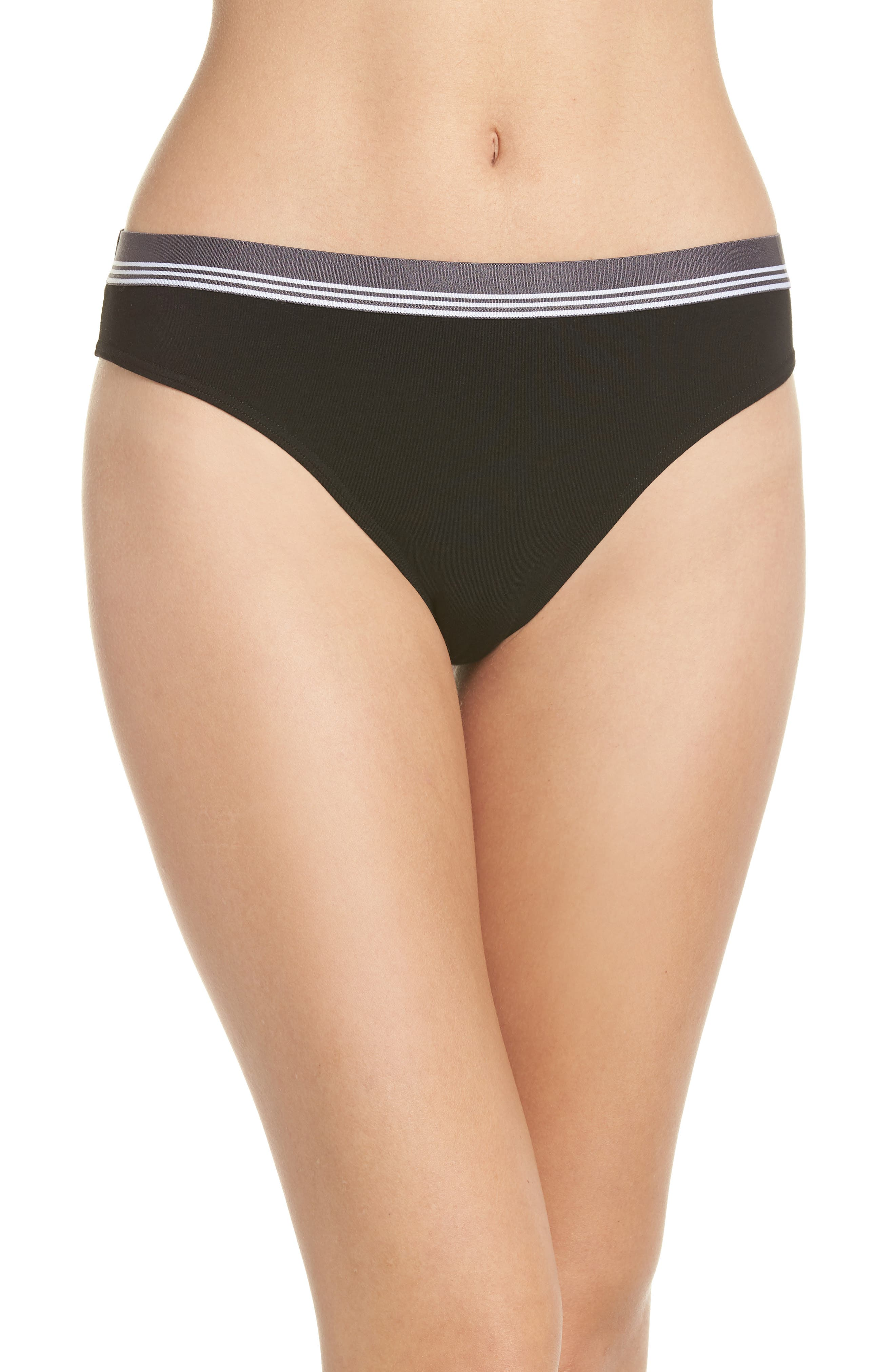 MAKE + MODEL Sporty High Cut Briefs, Main, color, BLACK
