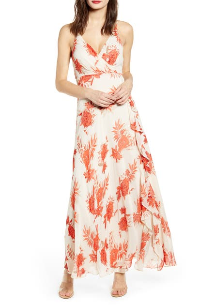 ae312817f0 Astr Floral Ruffle Detail Maxi Dress In Red/ Taupe Floral | ModeSens