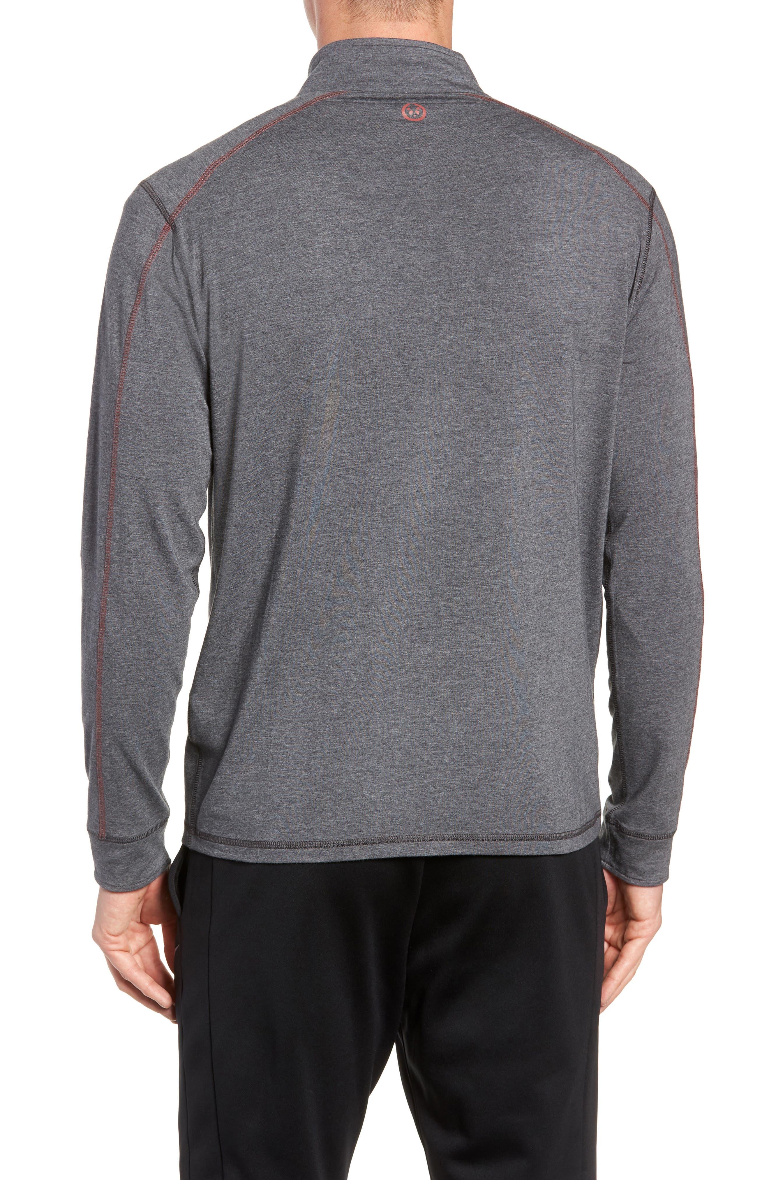 TASC PERFORMANCE, Carrollton Quarter Zip Sweatshirt, Alternate thumbnail 2, color, BLACK HEATHER/ MERCURY