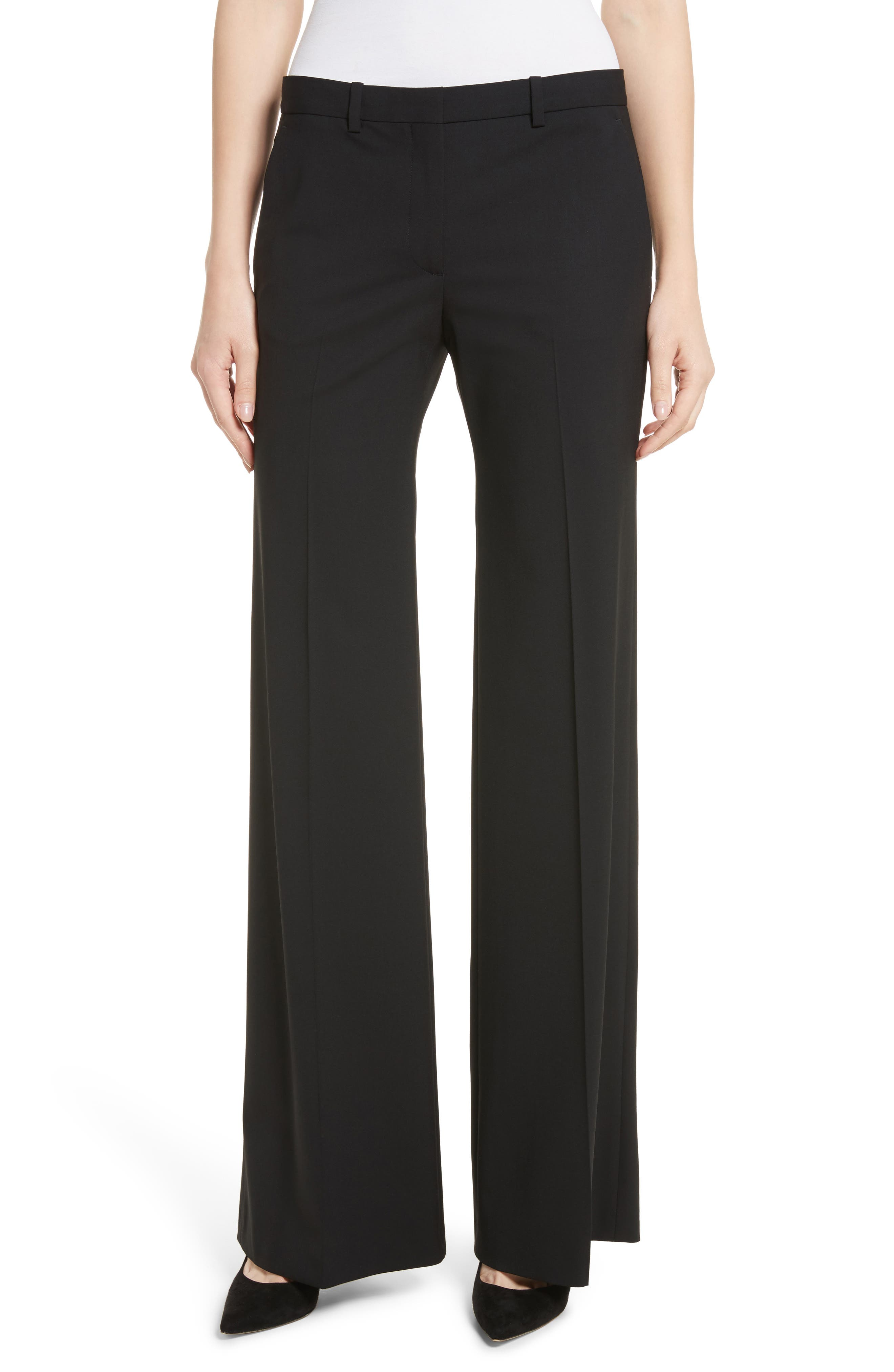 THEORY, Demetria 2 Flare Leg Good Wool Suit Pants, Main thumbnail 1, color, BLACK