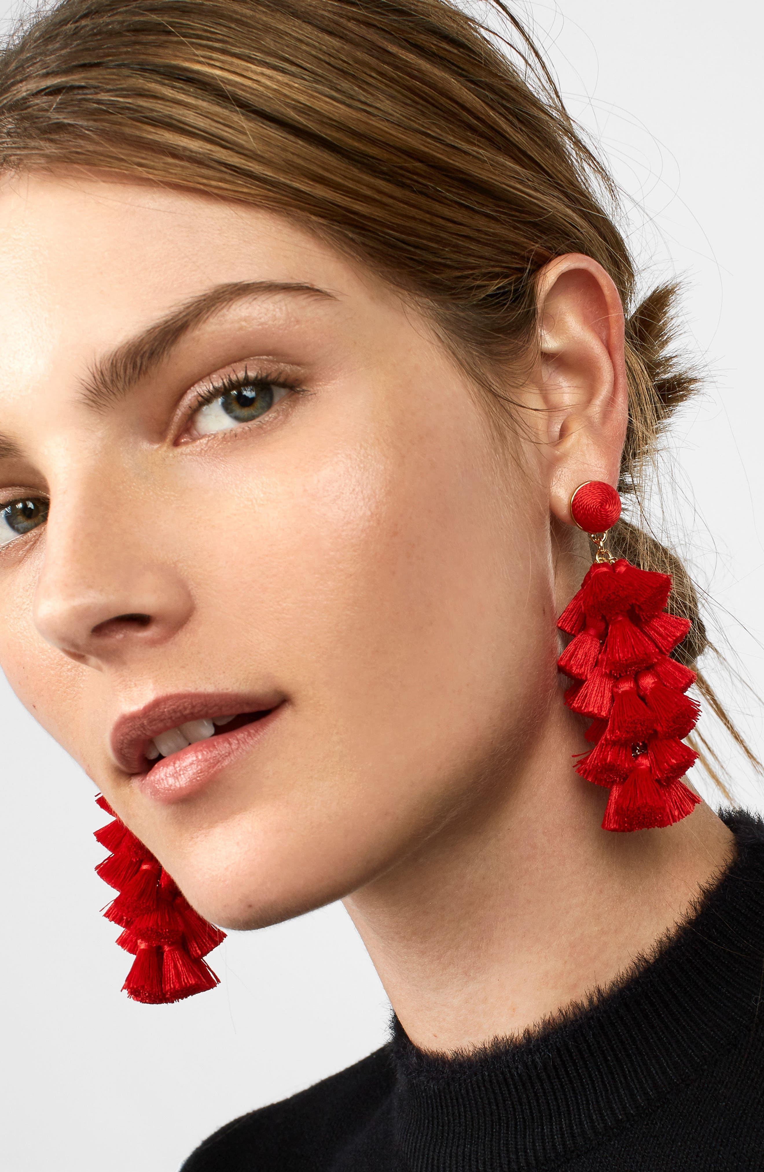 BAUBLEBAR, Contessa Tassel Earrings, Alternate thumbnail 2, color, RED