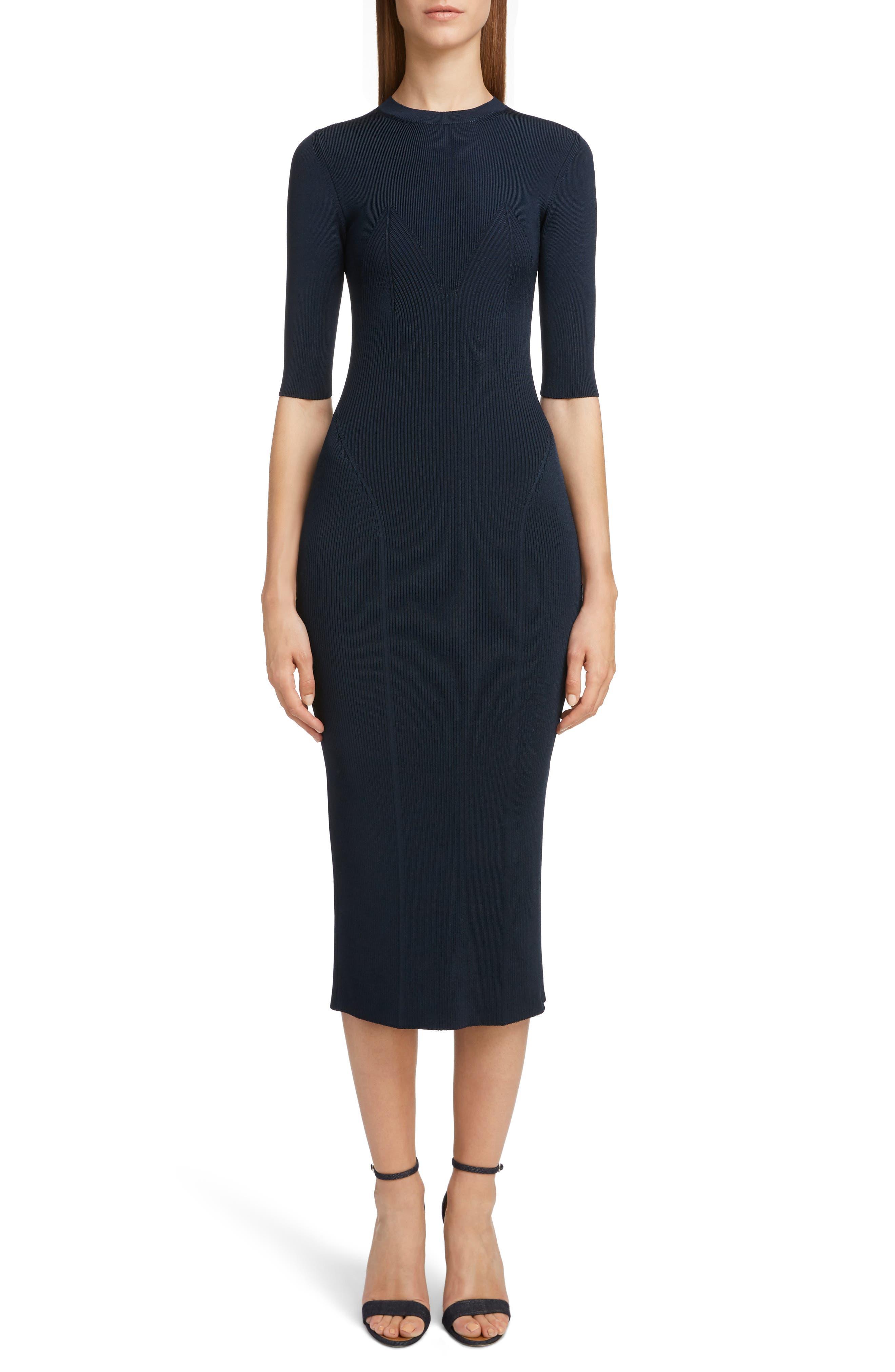 VICTORIA BECKHAM, Rib Knit Dress, Main thumbnail 1, color, NAVY