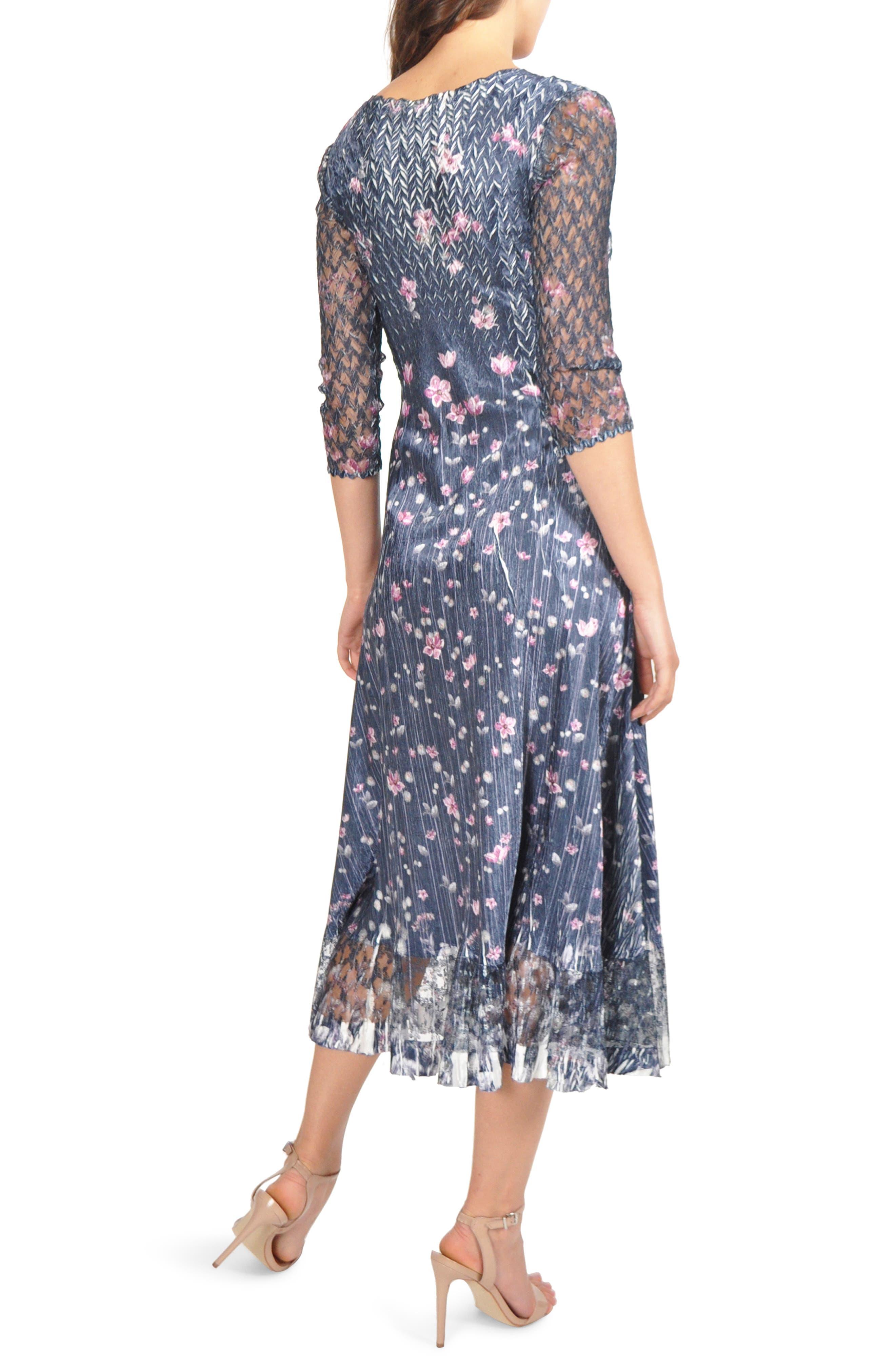 KOMAROV, Lace Sleeve Charmeuse Midi Dress, Alternate thumbnail 2, color, WILD THISTLE