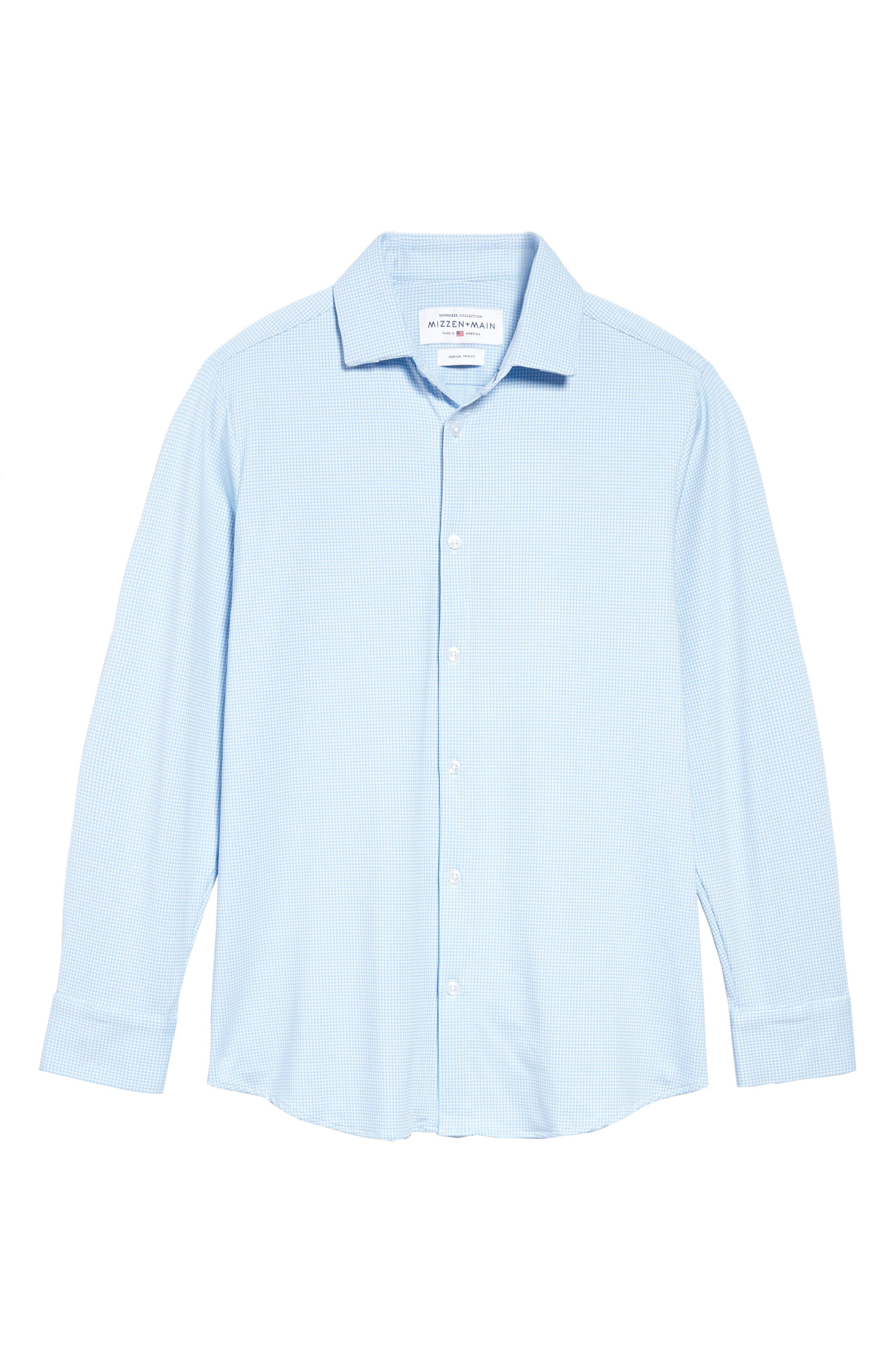 MIZZEN+MAIN, Whitman Trim Fit Dobby Gingham Performance Sport Shirt, Alternate thumbnail 6, color, BLUE