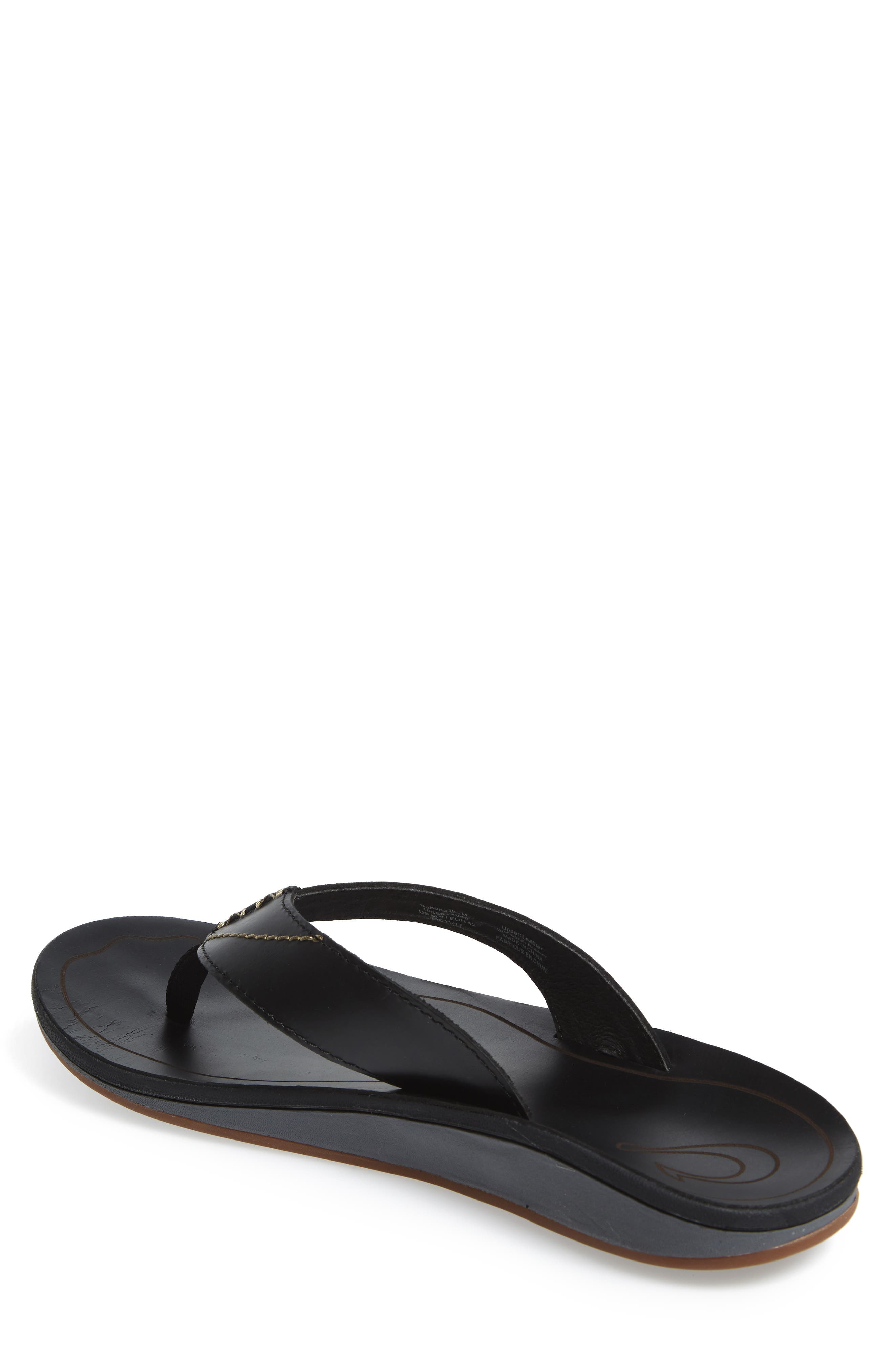 OLUKAI, Nohona Ili Flip Flop, Alternate thumbnail 2, color, BLACK/ BLACK LEATHER