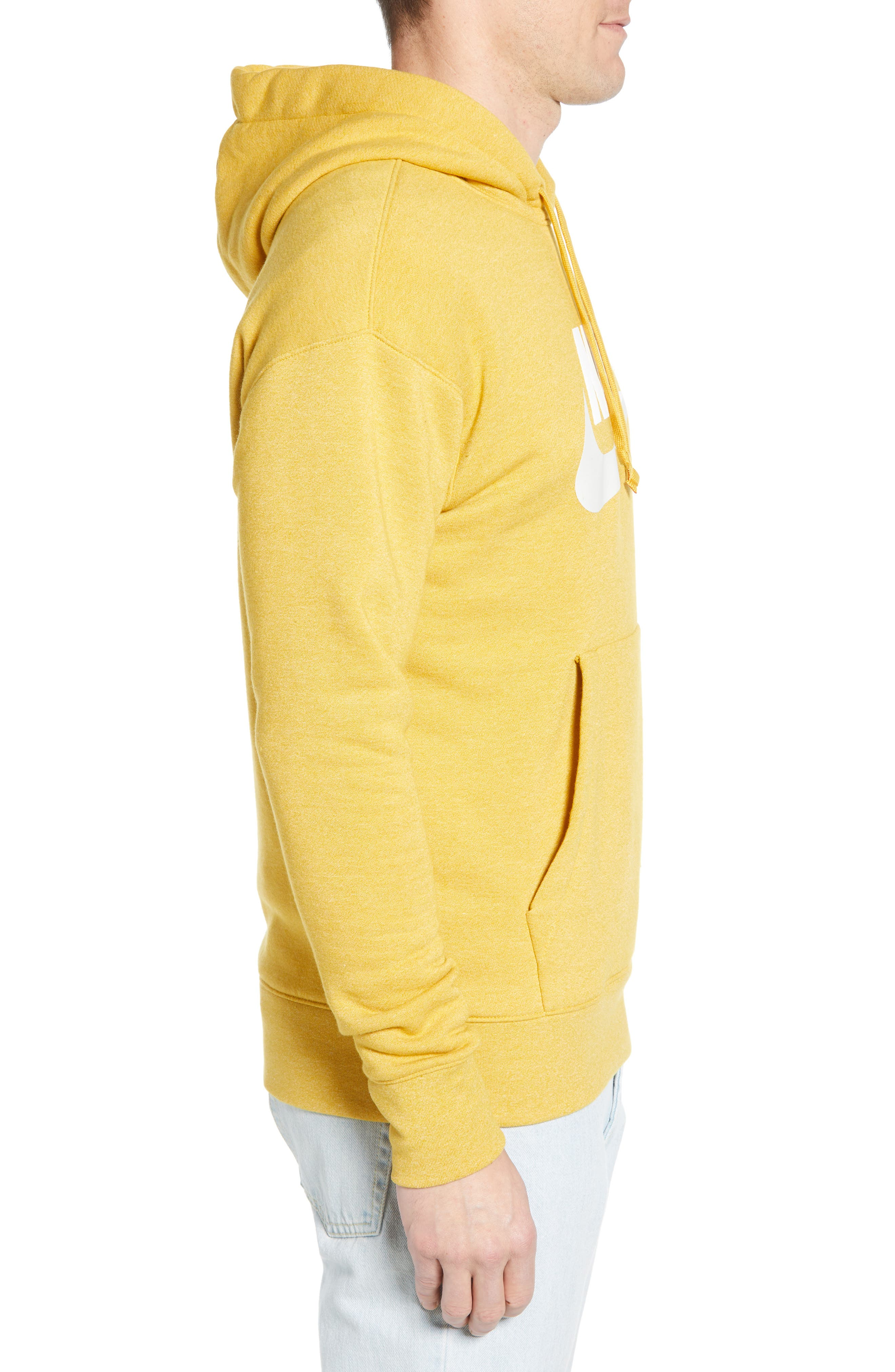 NIKE, Heritage Logo Hoodie, Alternate thumbnail 3, color, GOLD DART/ HEATHER