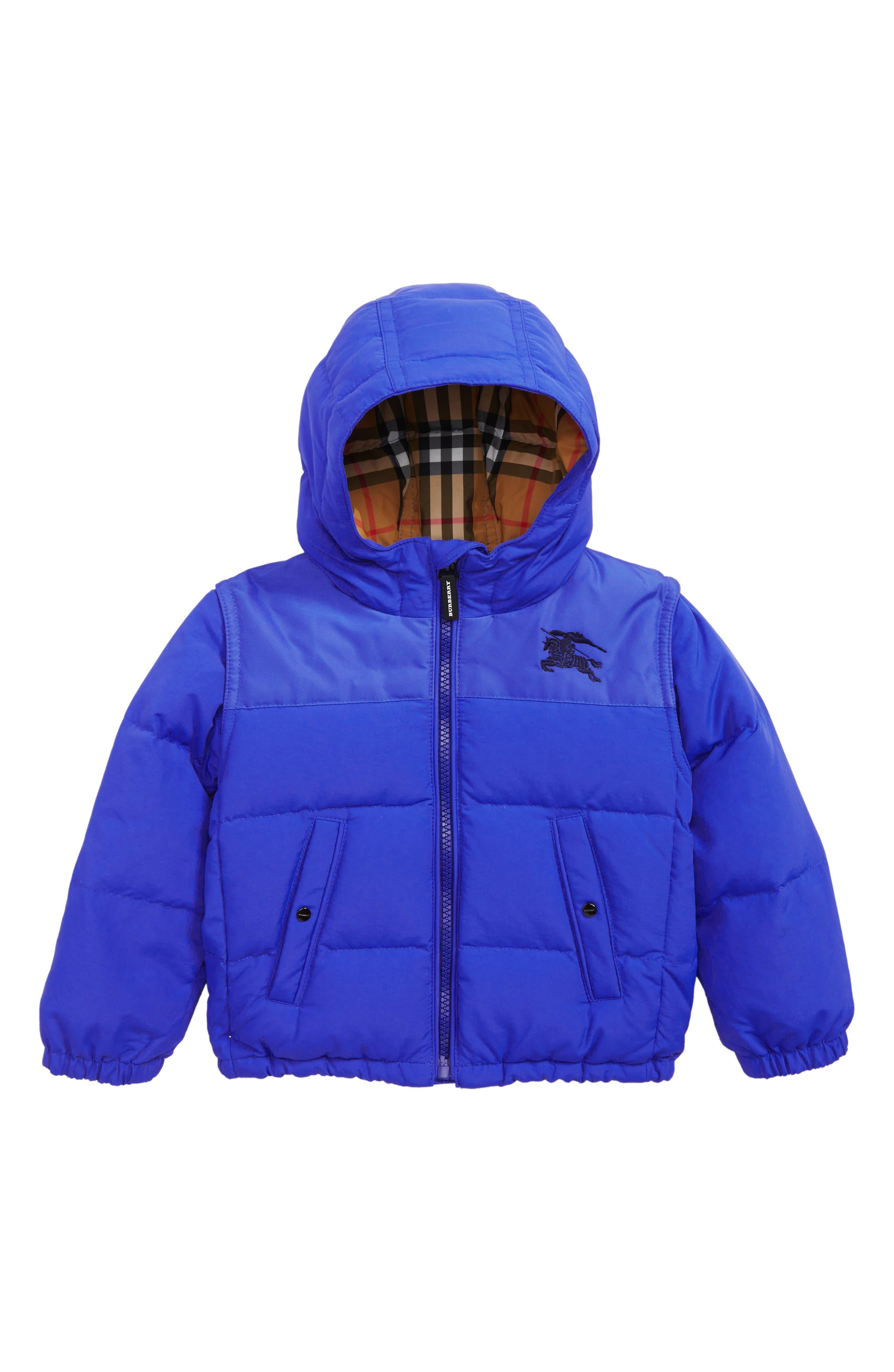 BURBERRY, Mini Ezra Hooded Down Jacket, Main thumbnail 1, color, ROYAL BLUE