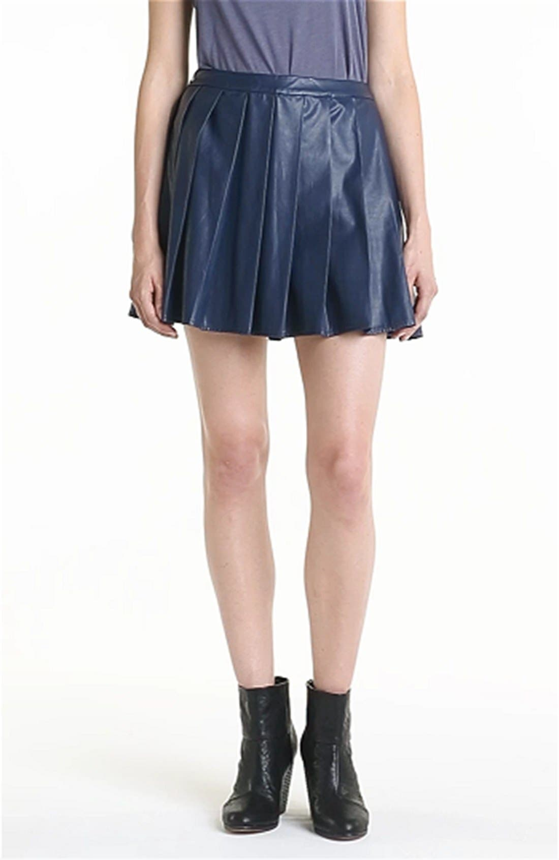 ASTR THE LABEL, ASTR Pleated Faux Leather Skirt, Alternate thumbnail 3, color, 422
