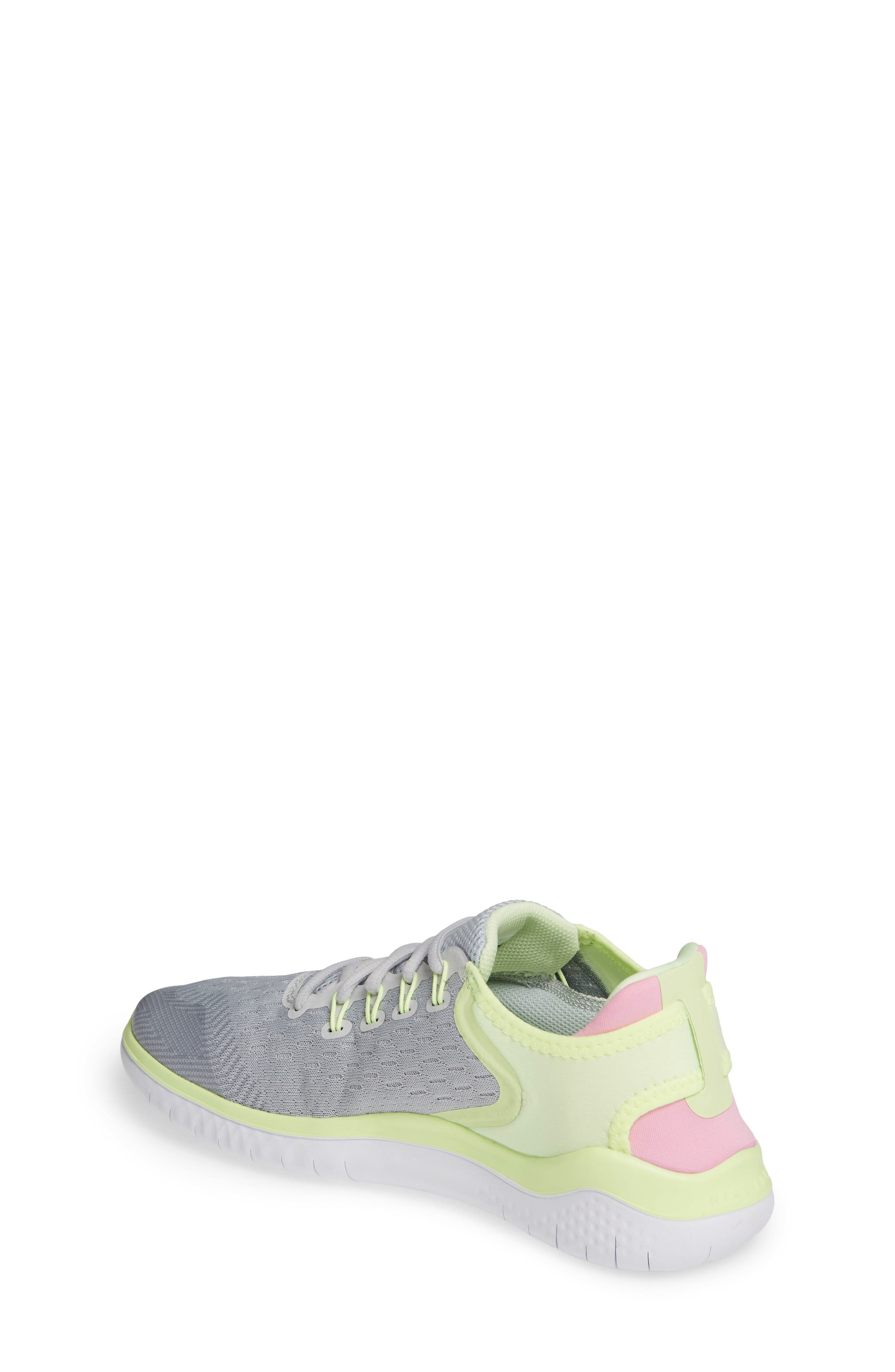 NIKE, Free RN 2018 Running Shoe, Alternate thumbnail 2, color, PURE PLATINUM/ PINK RISE-VOLT
