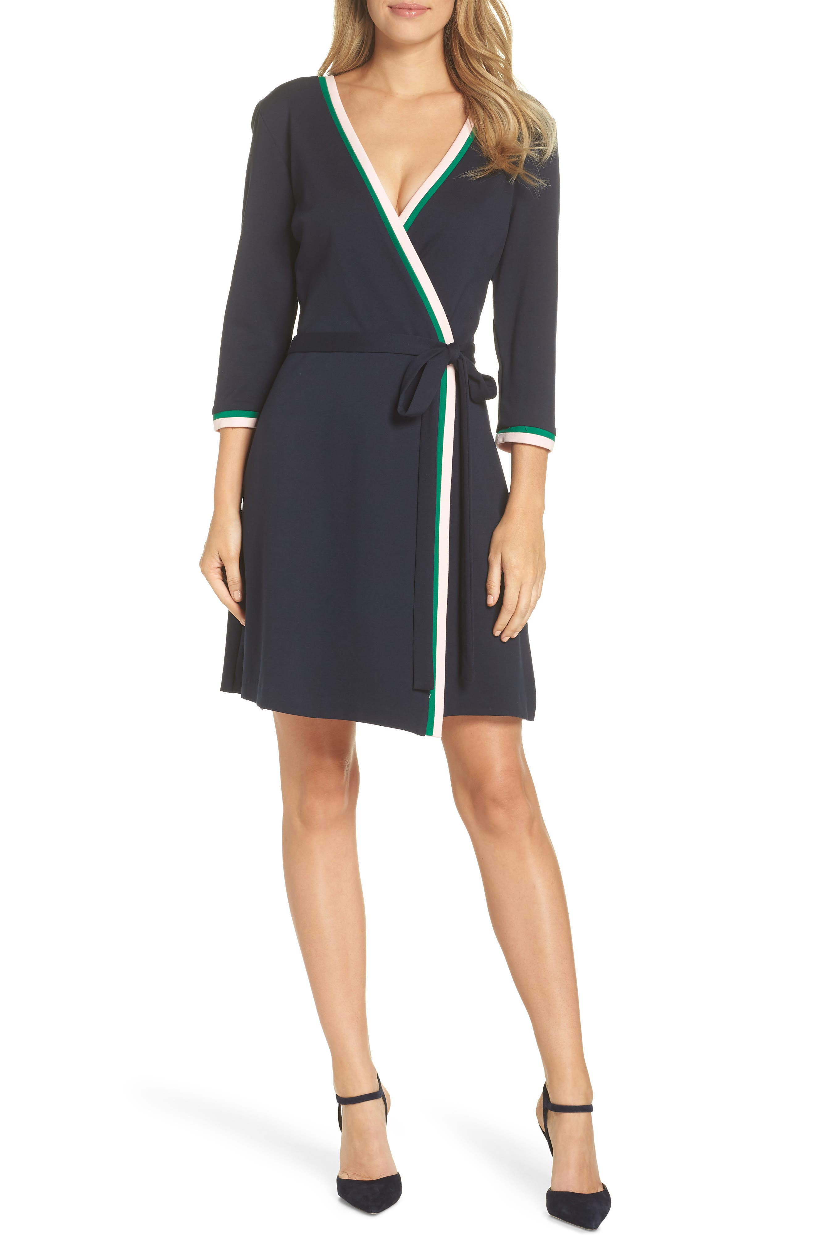 ELIZA J Stripe Faux Wrap Dress, Main, color, 410