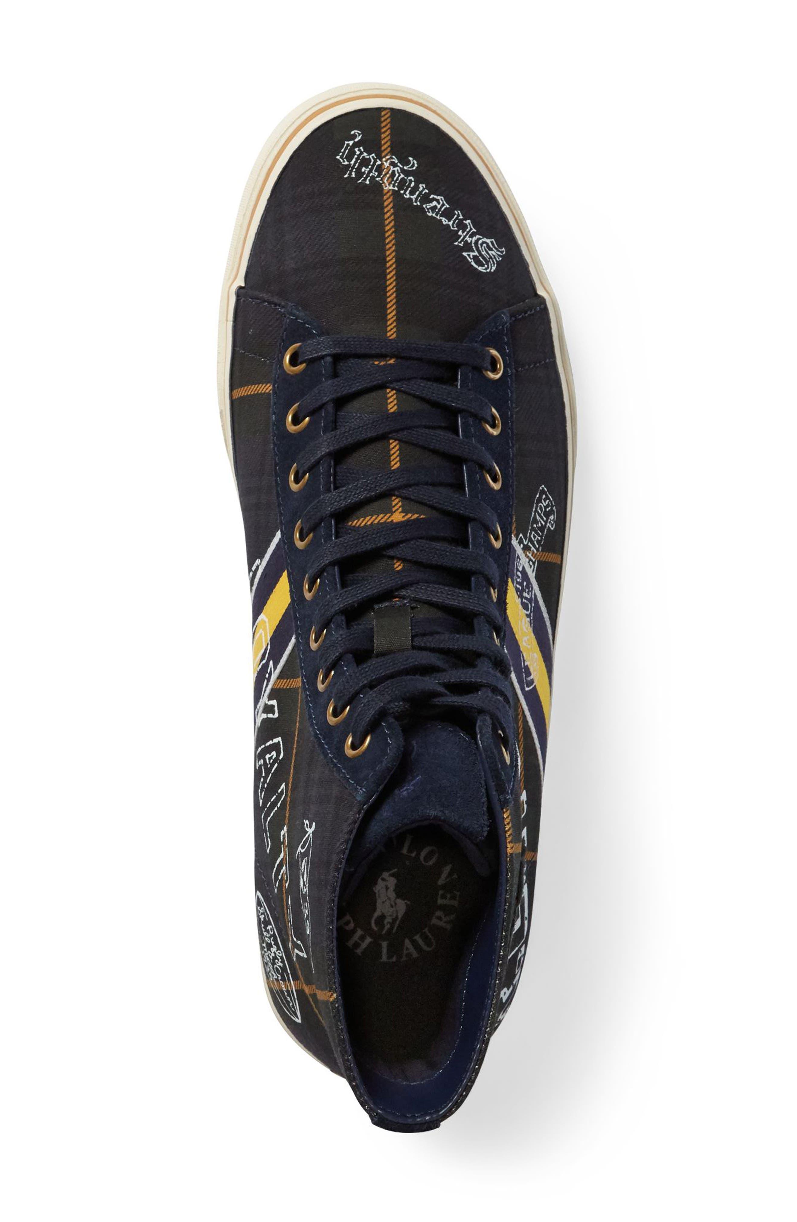 POLO RALPH LAUREN, Solomon II Sneaker, Alternate thumbnail 3, color, MULTI BLACK/ YELLOW CANVAS