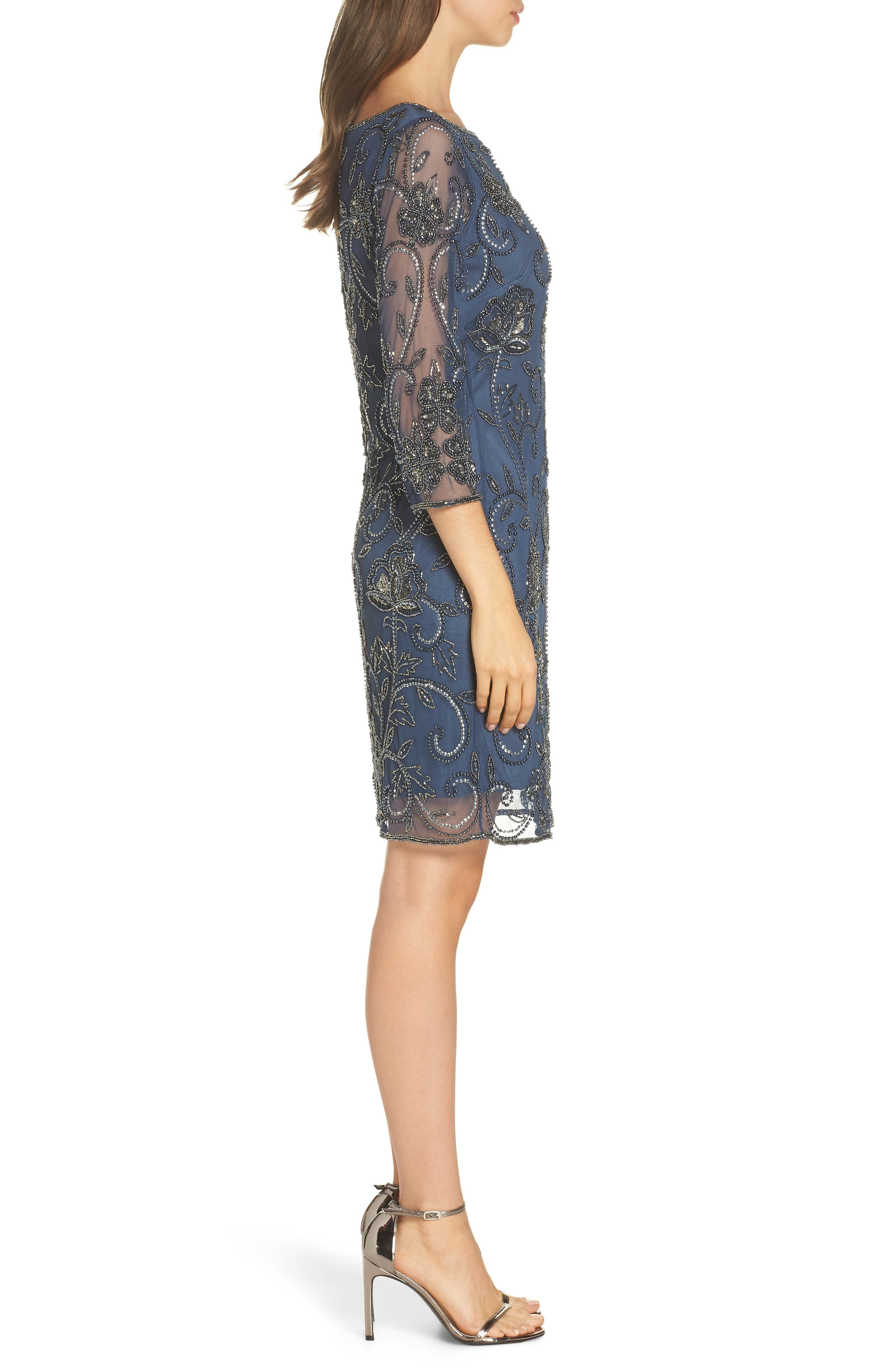 PISARRO NIGHTS, Embellished Mesh Sheath Dress, Alternate thumbnail 4, color, BLUE