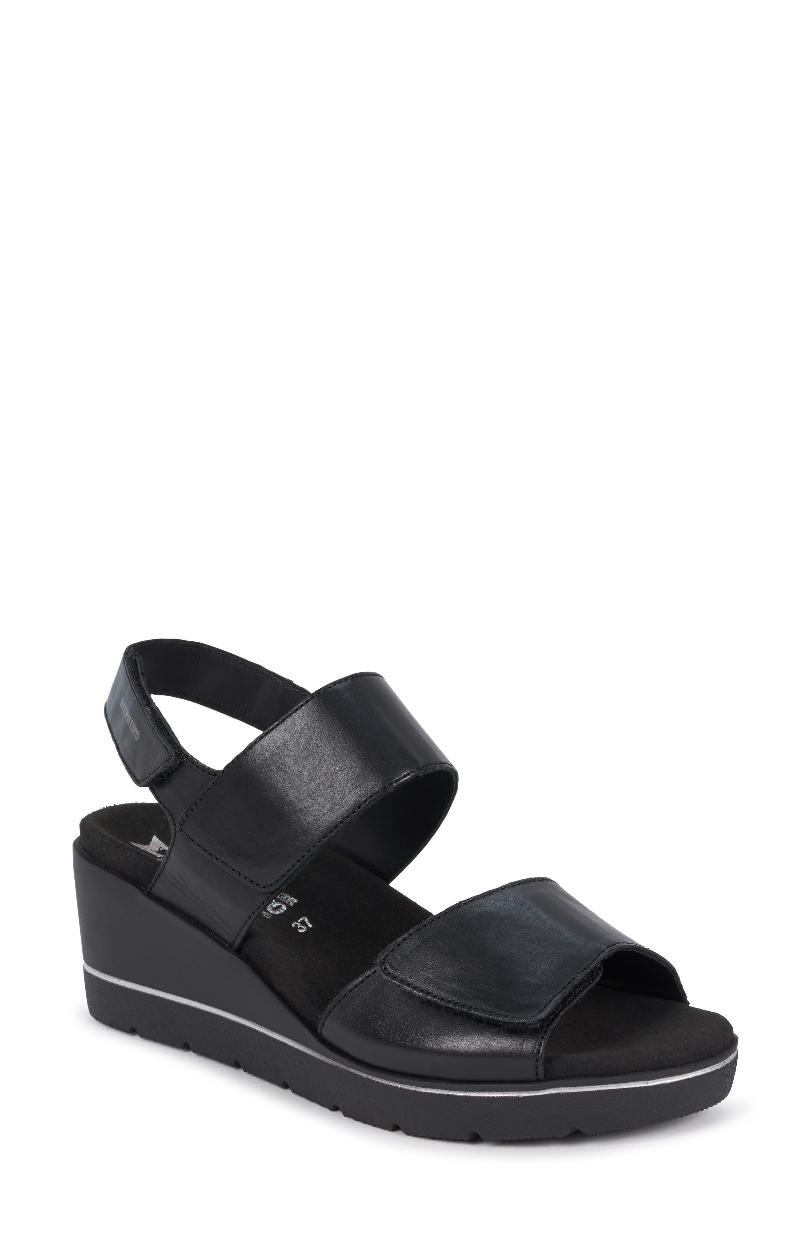 MEPHISTO Engelina Wedge Sandal, Main, color, BLACK SILK LEATHER