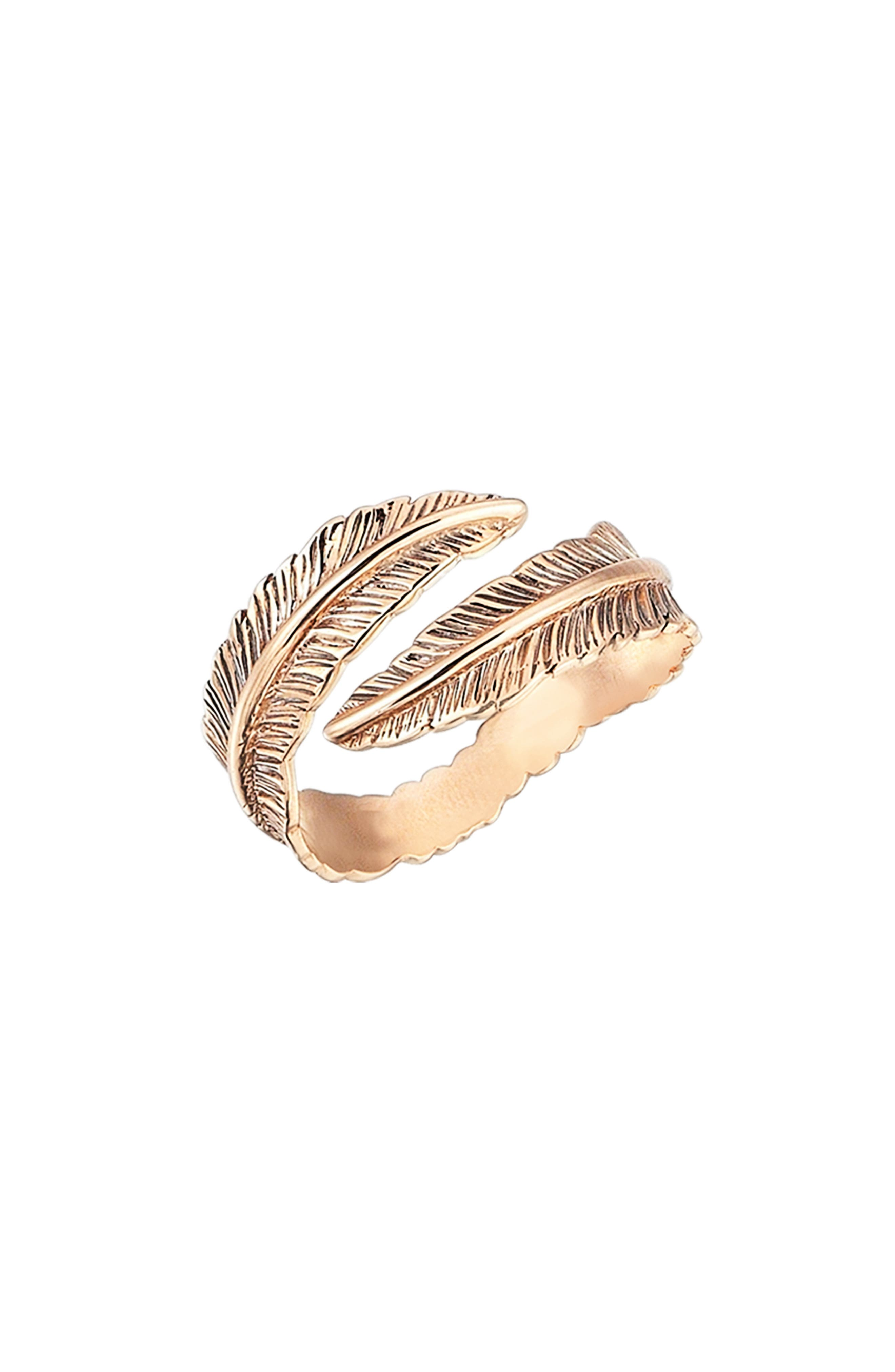 KISMET BY MILKA, Double Row Feather Pinky Ring, Main thumbnail 1, color, ROSE GOLD