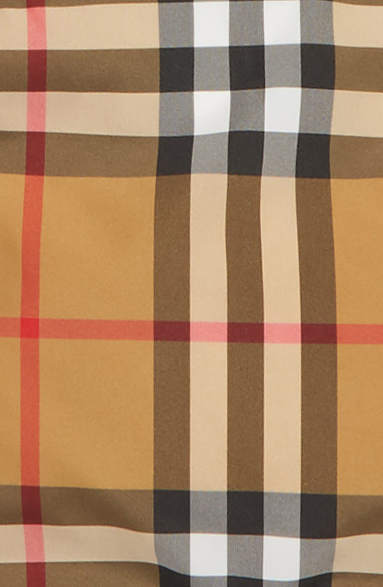BURBERRY, Check Hooded Down Coat, Alternate thumbnail 2, color, ANTIQUE YELLW IP CHK