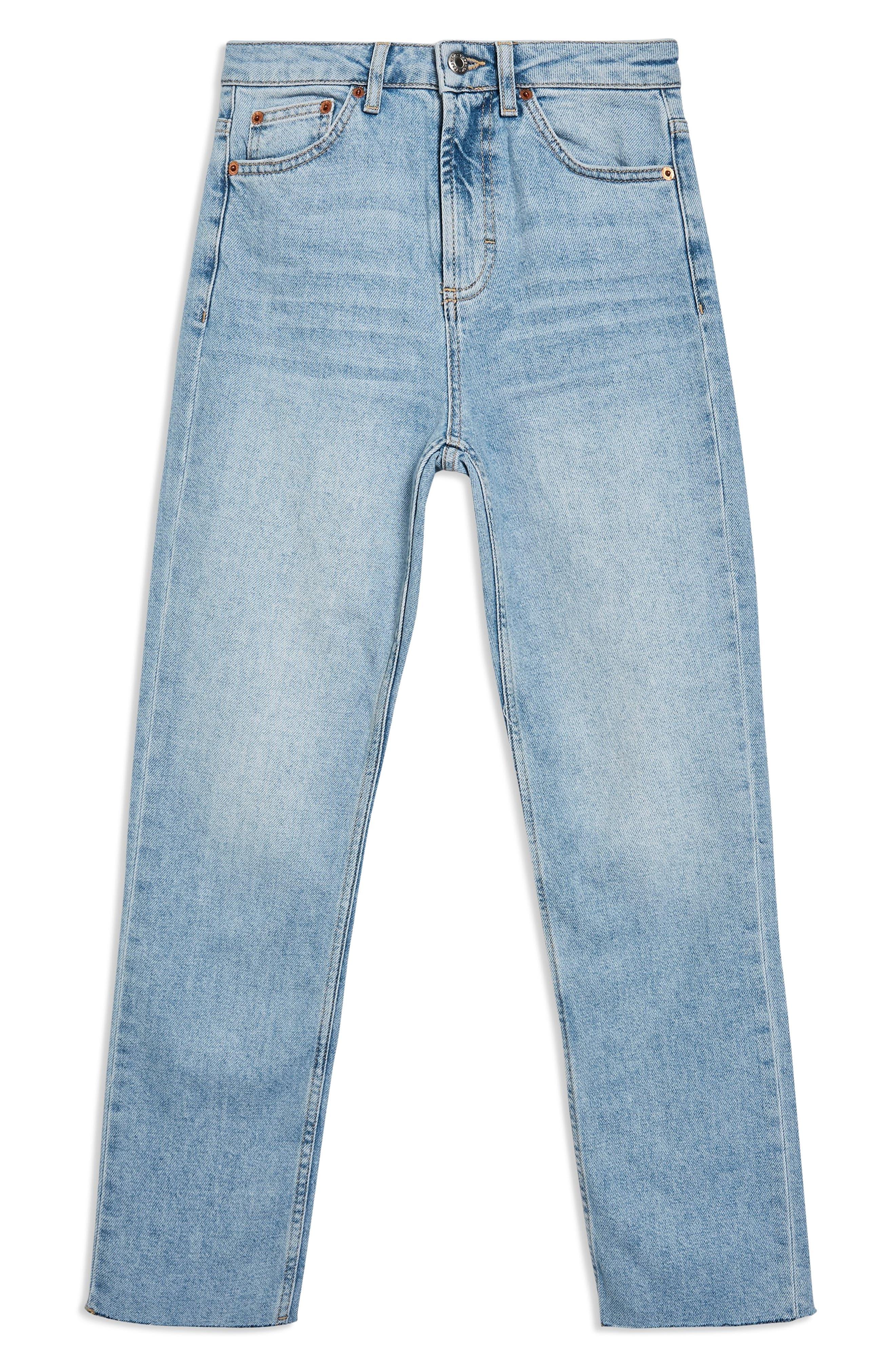 TOPSHOP, Raw Hem Straight Leg Jeans, Alternate thumbnail 5, color, BLEACH