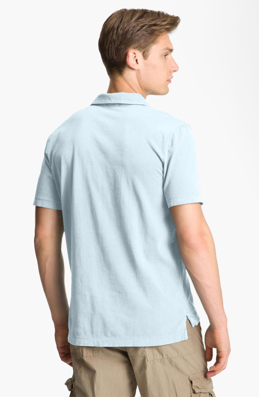 JAMES PERSE, Slim Fit Sueded Jersey Polo, Alternate thumbnail 2, color, POWDER BLUE