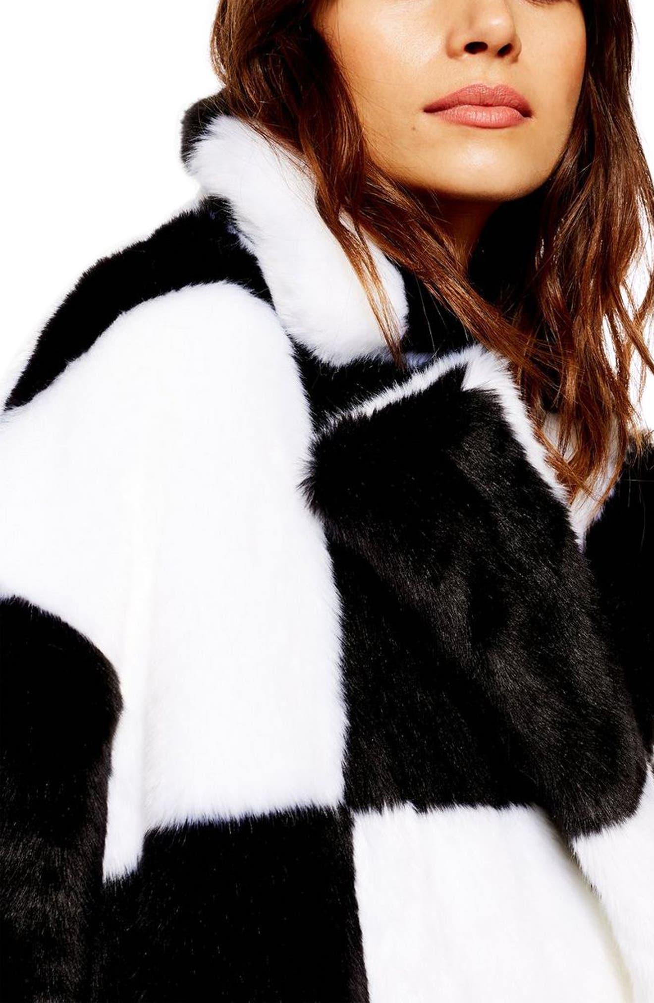 TOPSHOP, Checkerboard Faux Fur Coat, Alternate thumbnail 3, color, BLACK MULTI
