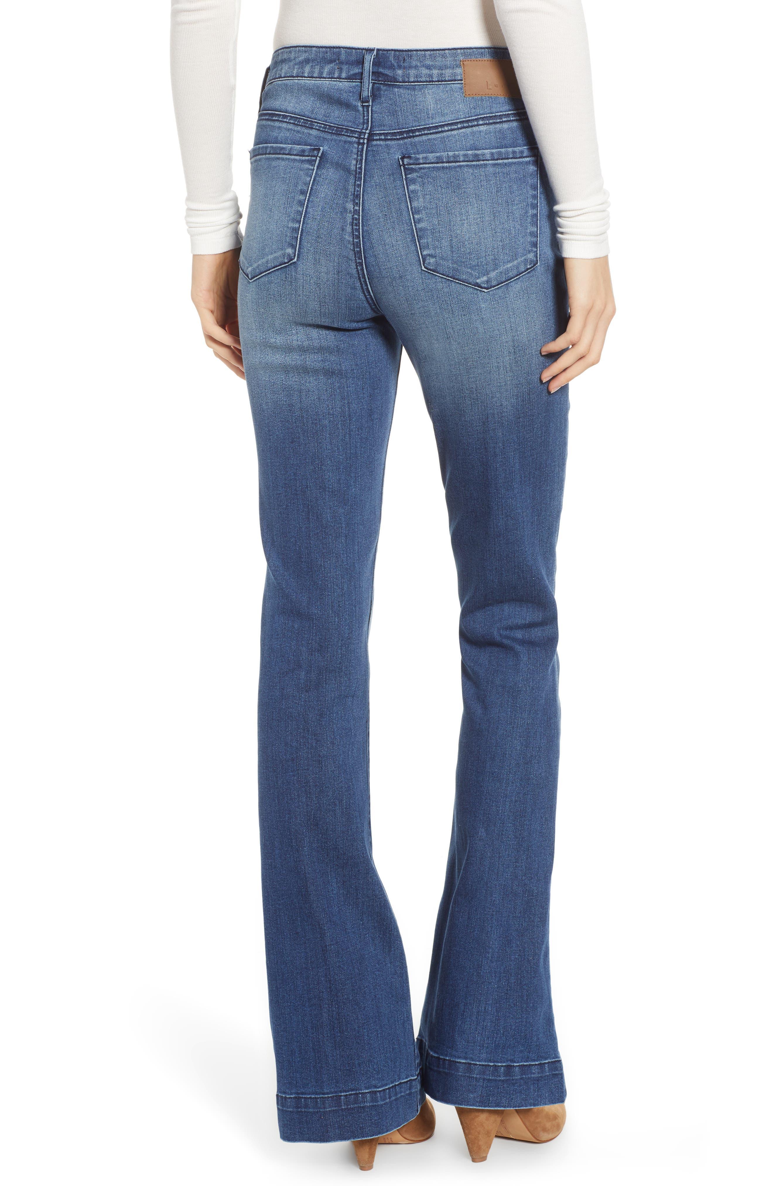 LEITH, High Waist Flare Jeans, Alternate thumbnail 2, color, MEDIUM WASH