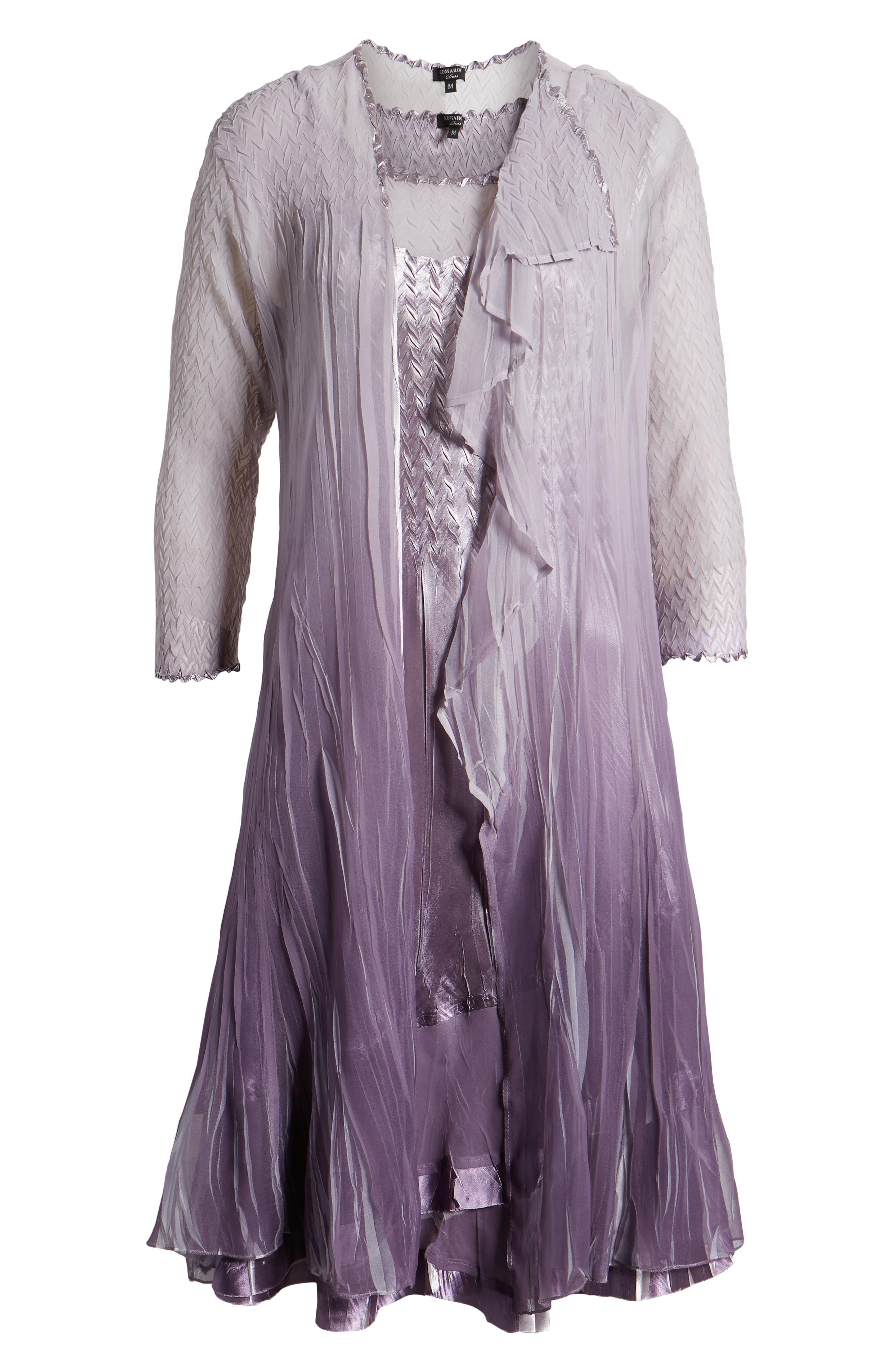 KOMAROV, Komorav Charmeuse Dress with Cascade Jacket, Alternate thumbnail 6, color, GREY VIOLET ORCHID OMBRE