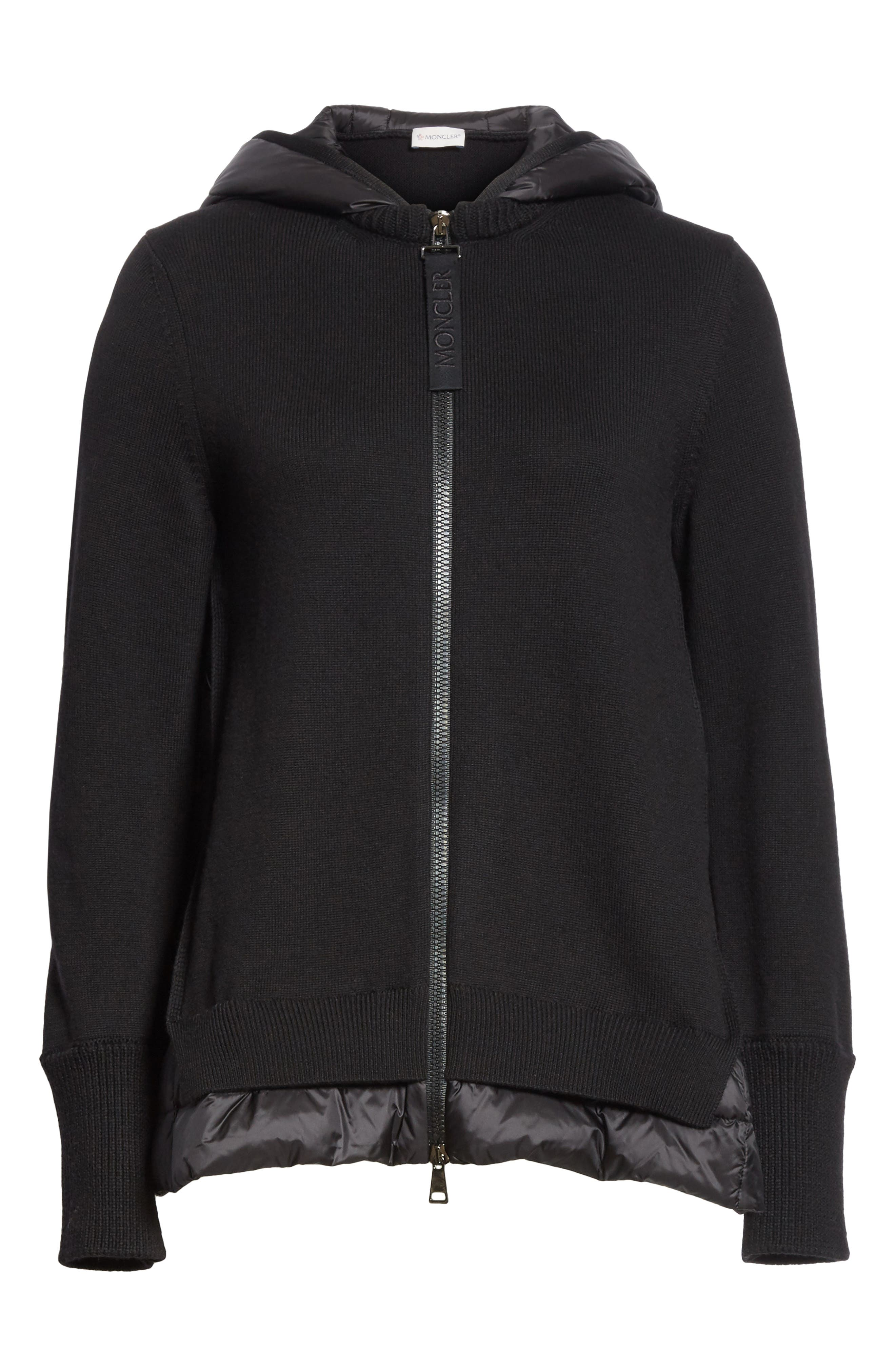 MONCLER, Hooded Quilted Cardigan, Alternate thumbnail 5, color, BLACK