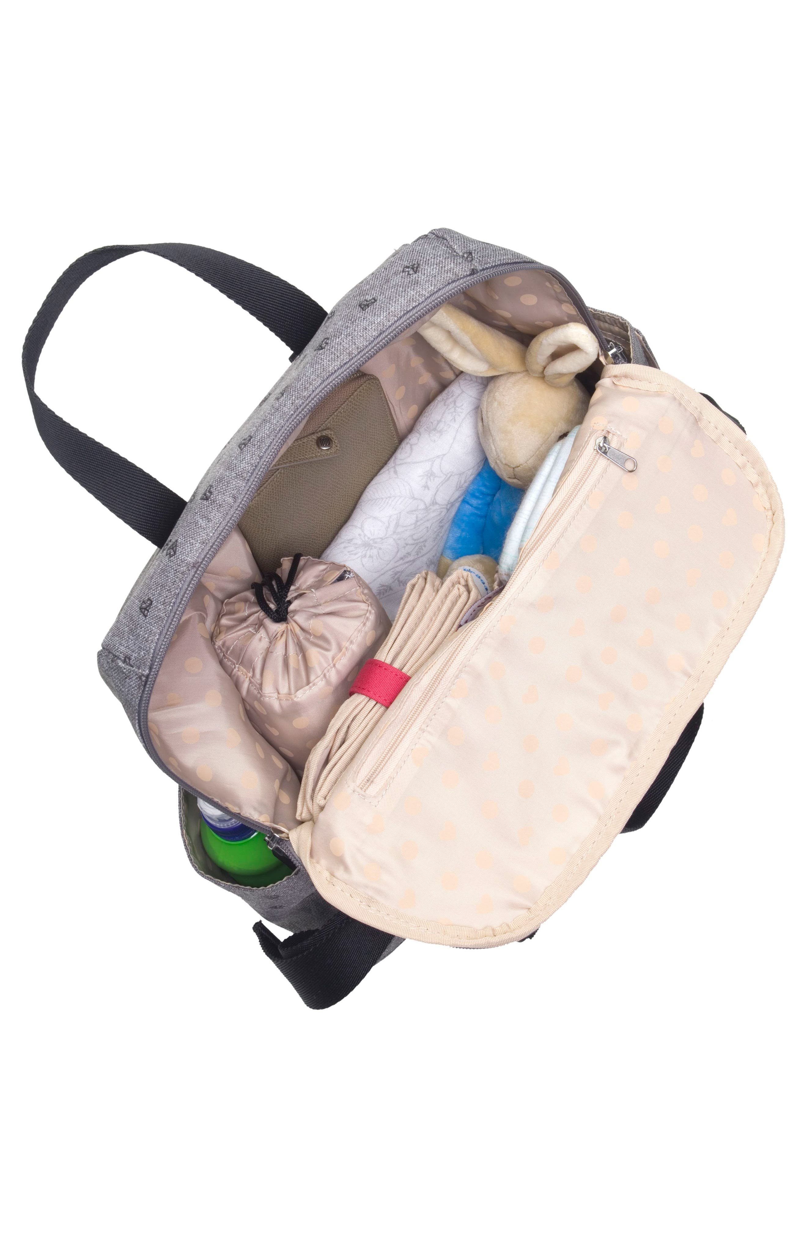 BABYMEL, Robyn Convertible Diaper Backpack, Alternate thumbnail 5, color, GREY ORIGAMI HEART