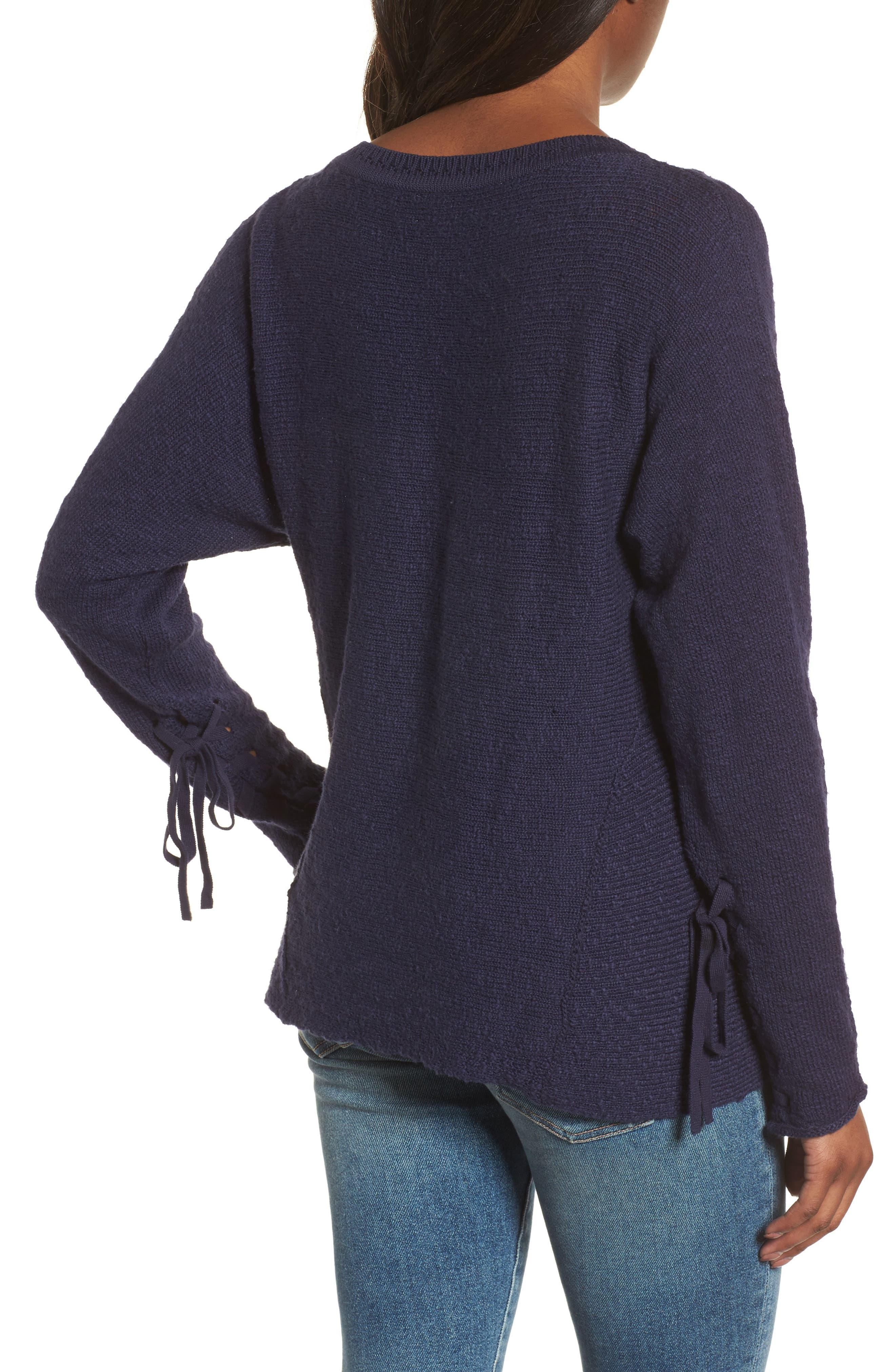 CASLON<SUP>®</SUP>, Mix Stitch Swing Cotton Sweater, Alternate thumbnail 2, color, NAVY PEACOAT
