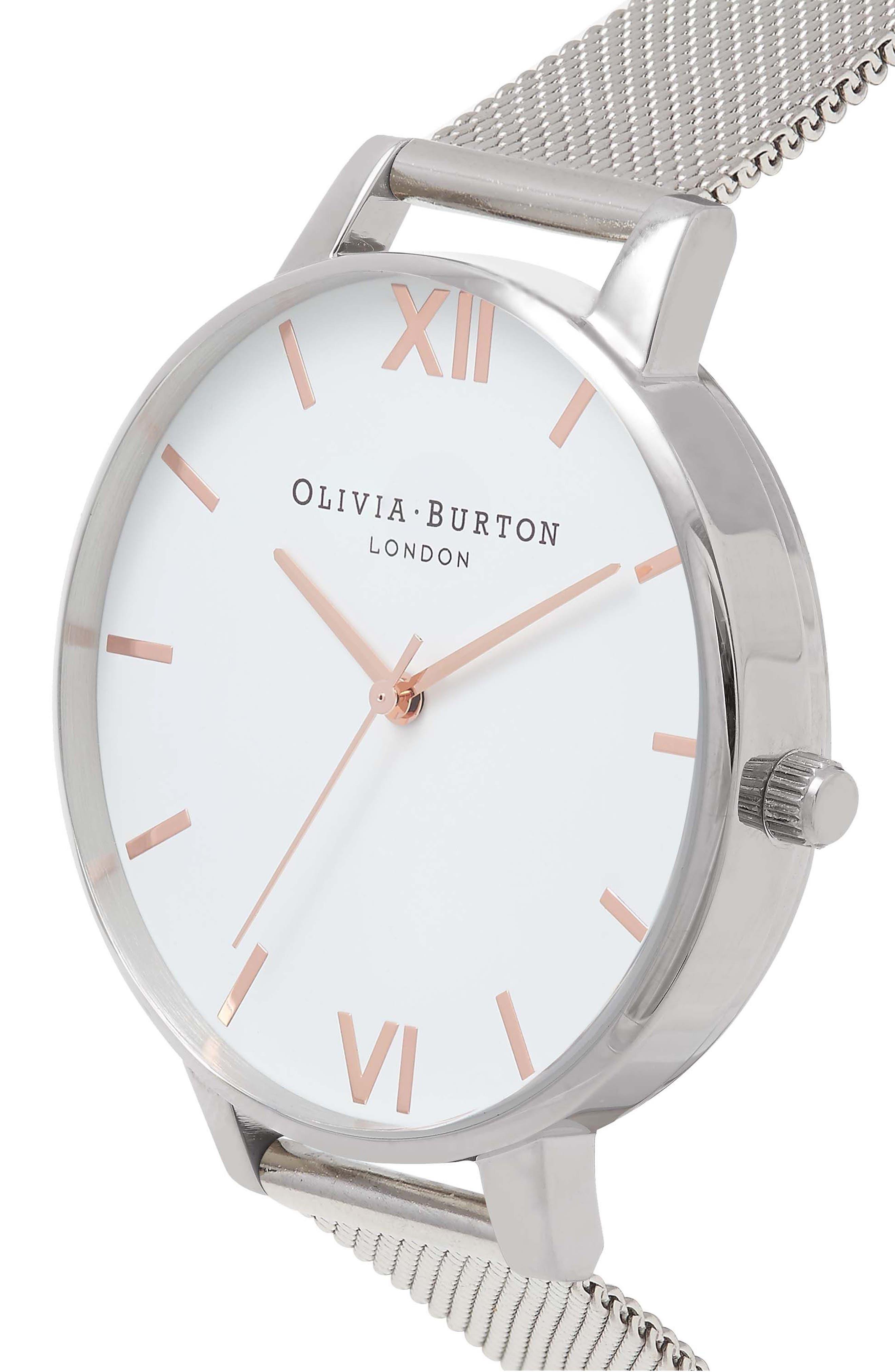 OLIVIA BURTON, Mesh Strap Watch, 38mm, Alternate thumbnail 4, color, SILVER/ WHITE/ ROSE GOLD
