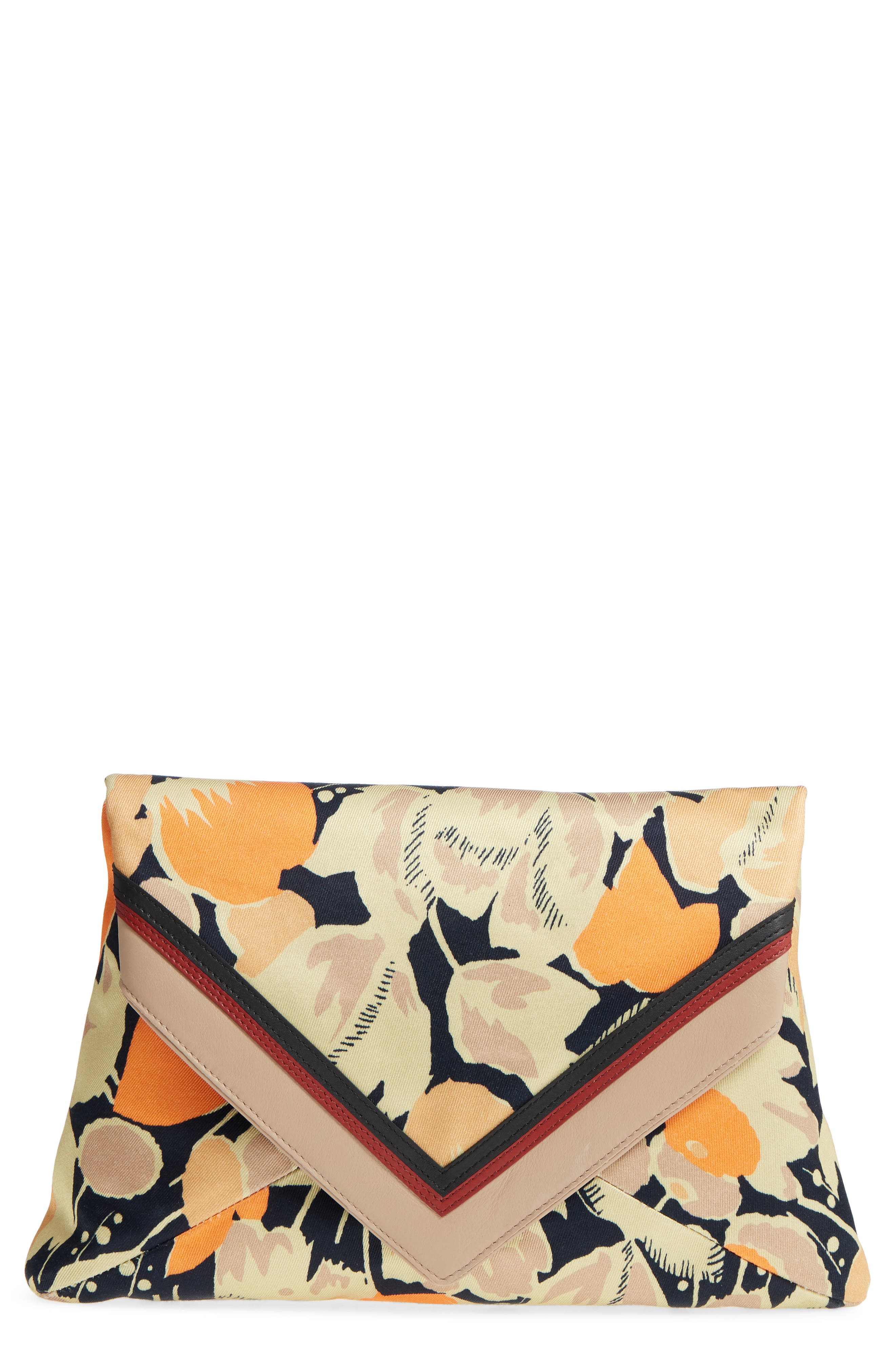 DRIES VAN NOTEN, Floral Print Envelope Clutch, Main thumbnail 1, color, 800