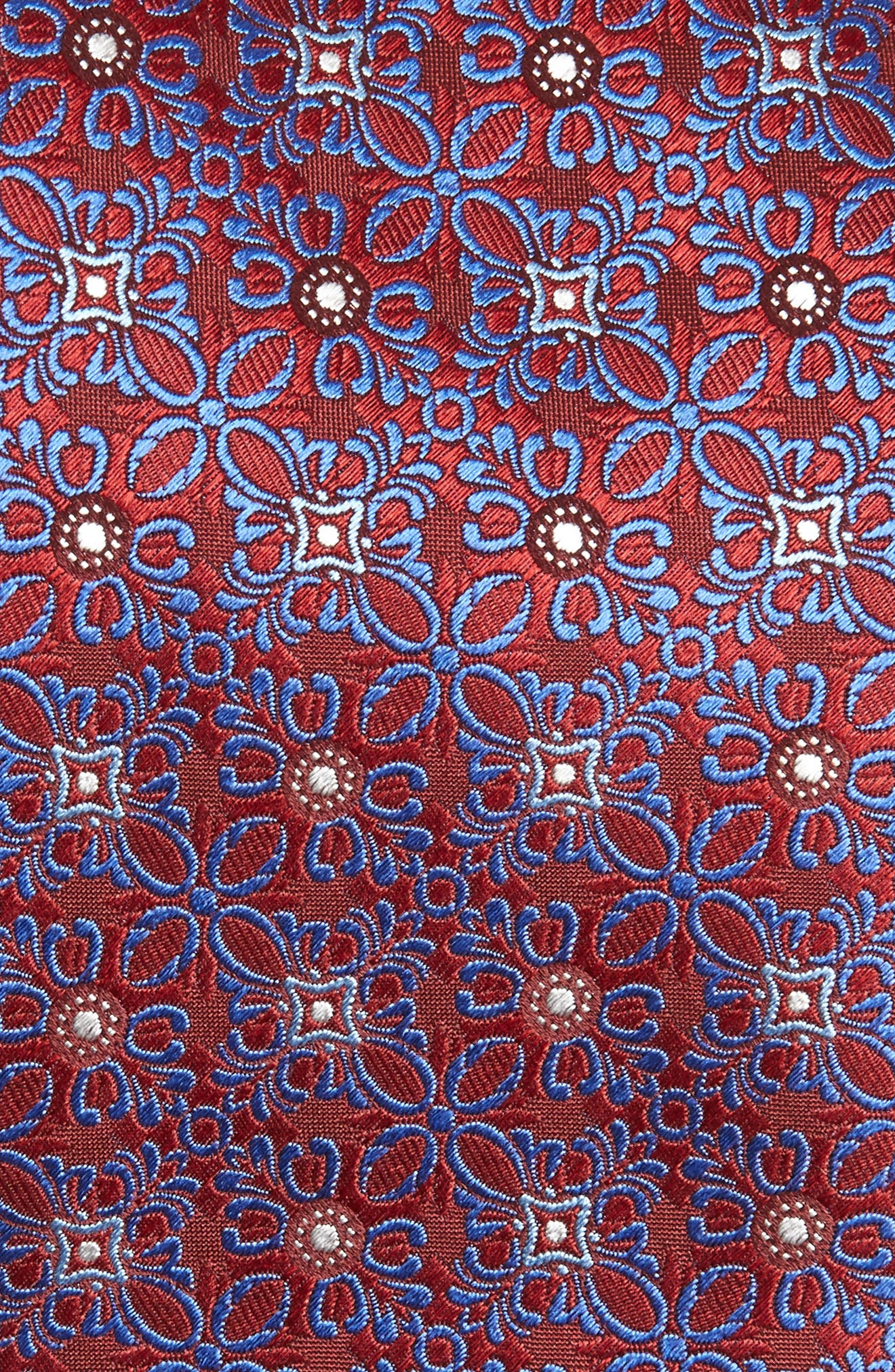 CANALI, Medallion Silk Tie, Alternate thumbnail 2, color, RED