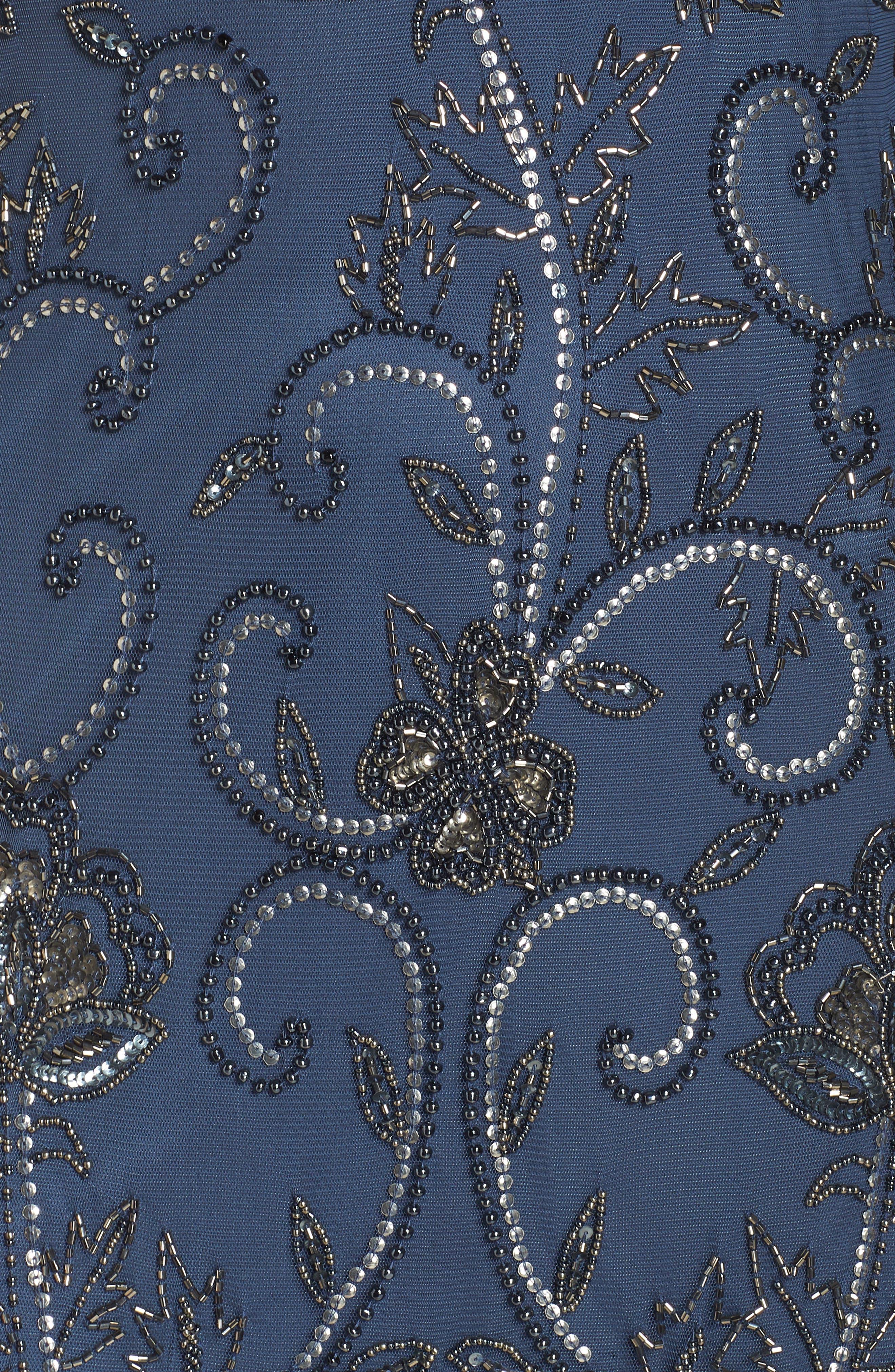 PISARRO NIGHTS, Embellished Mesh Sheath Dress, Alternate thumbnail 6, color, BLUE